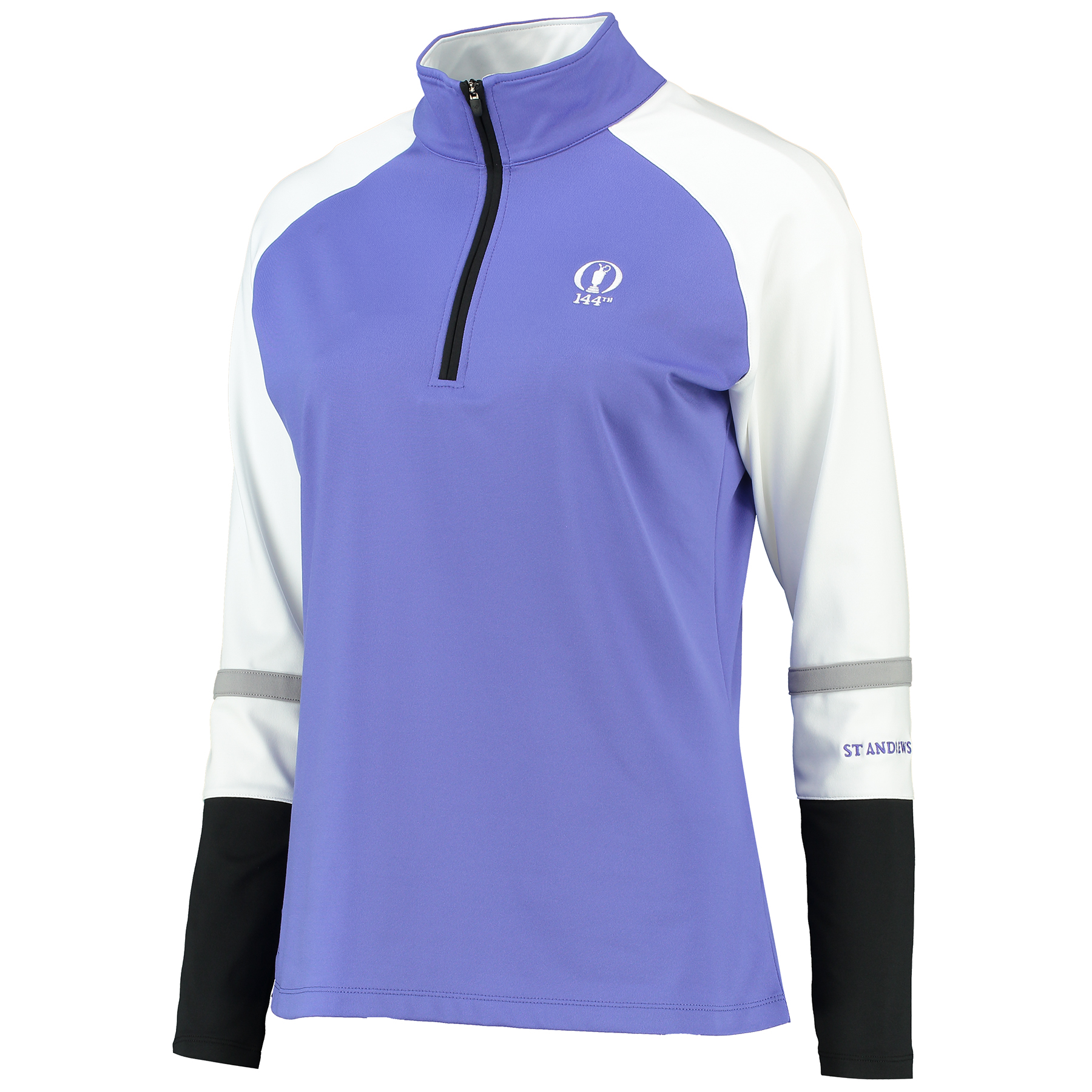 The Open 144th St Andrews Littleton 1/2 Zip Lightweight Colourblock Fleece - Womens - Iris/White/Navy