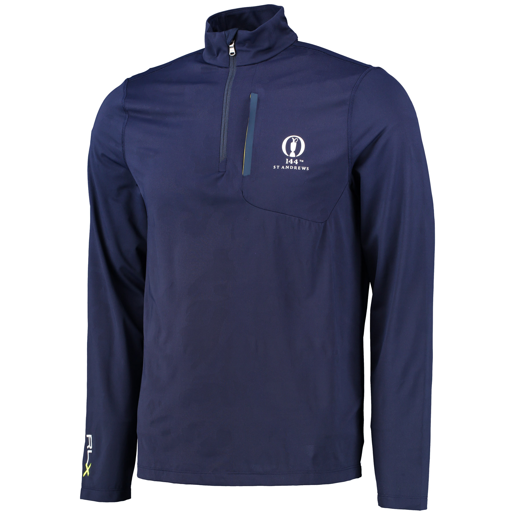 The Open 144th St Andrews RLX Mock Neck Half Zip Long Sleeve Knit - French Navy/Camo