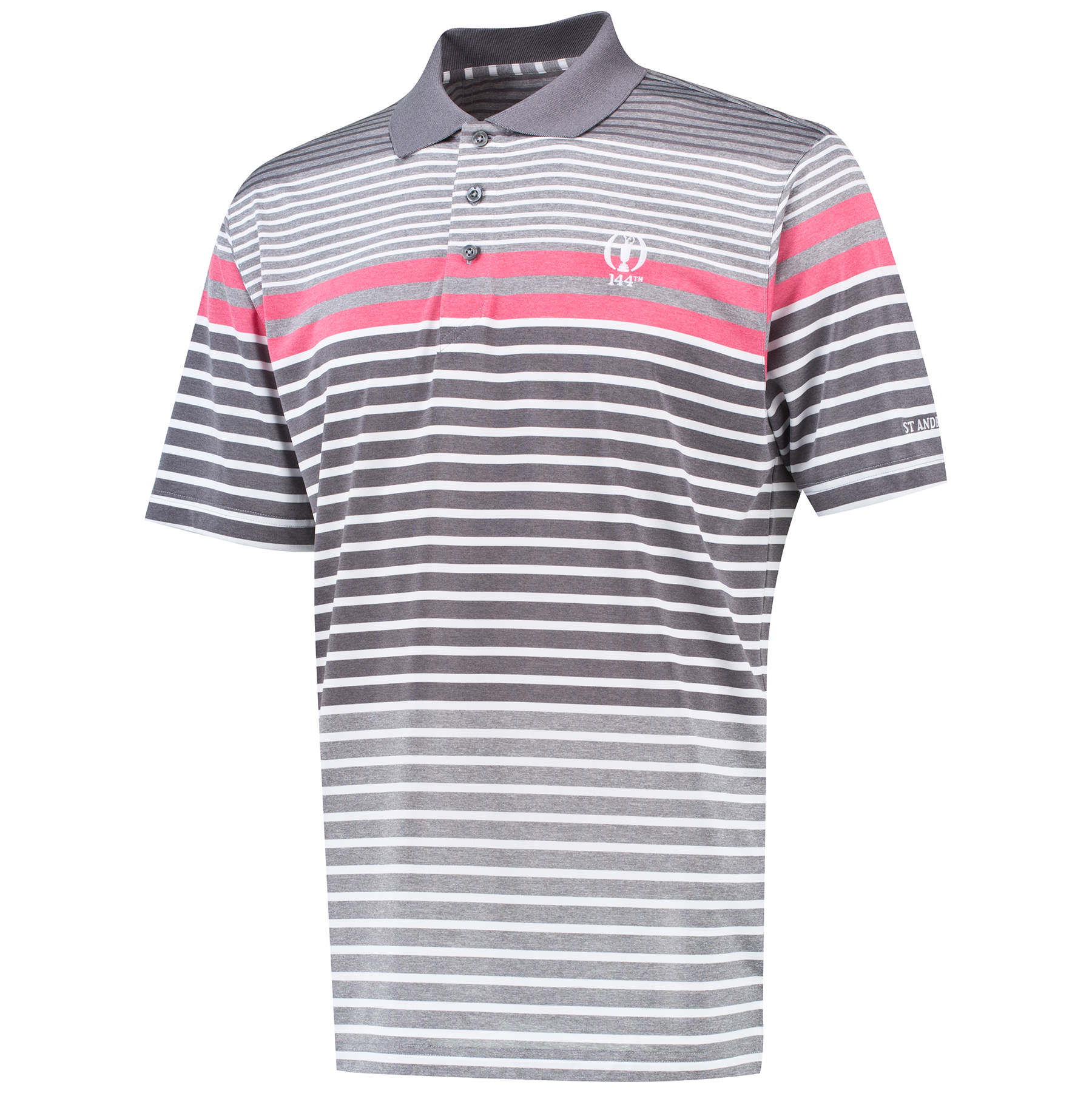 The Open 144th St Andrews Thermal Regulation Ombre Stripe Polo - Platinum/Pomegranate