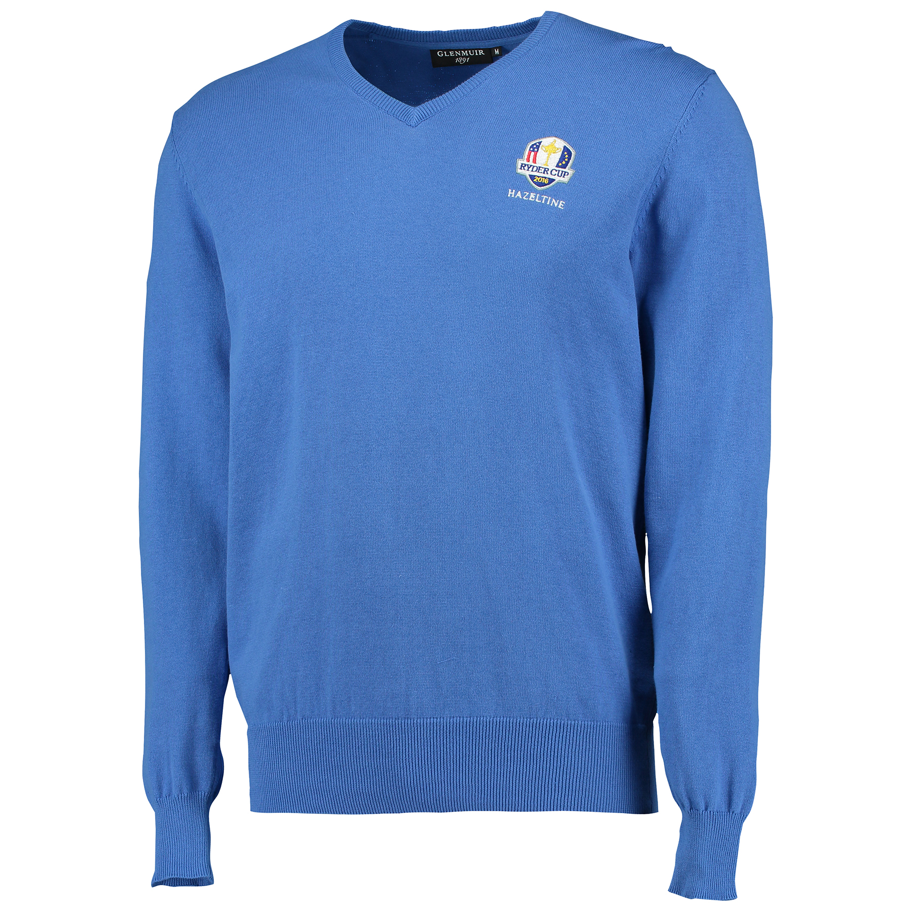 The 2016 Ryder Cup Glenmuir Eden V-Neck Cotton Sweater - Tahiti