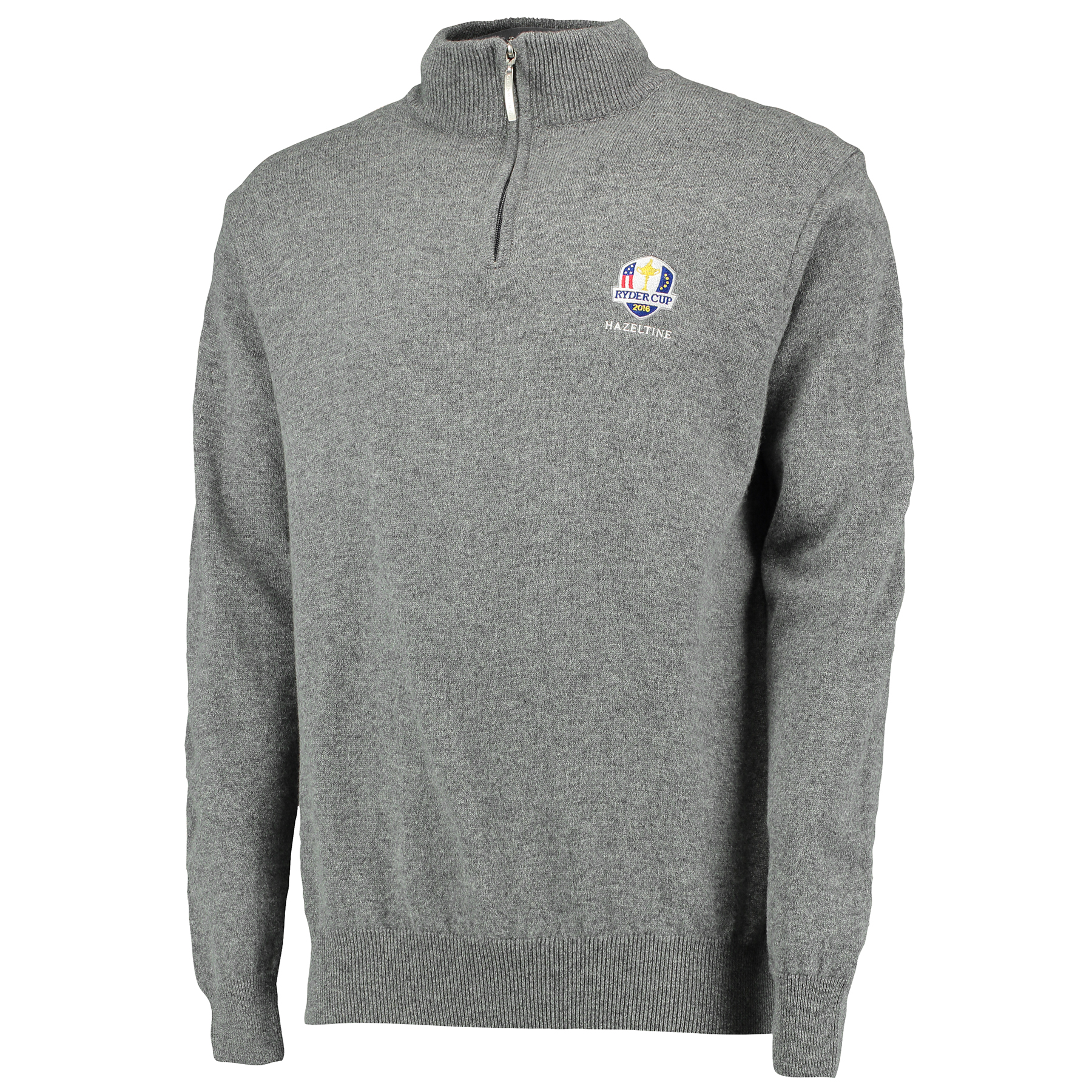 The 2016 Ryder Cup Glenmuir Coll Zip Neck Lambswool Sweater - Grey Mix