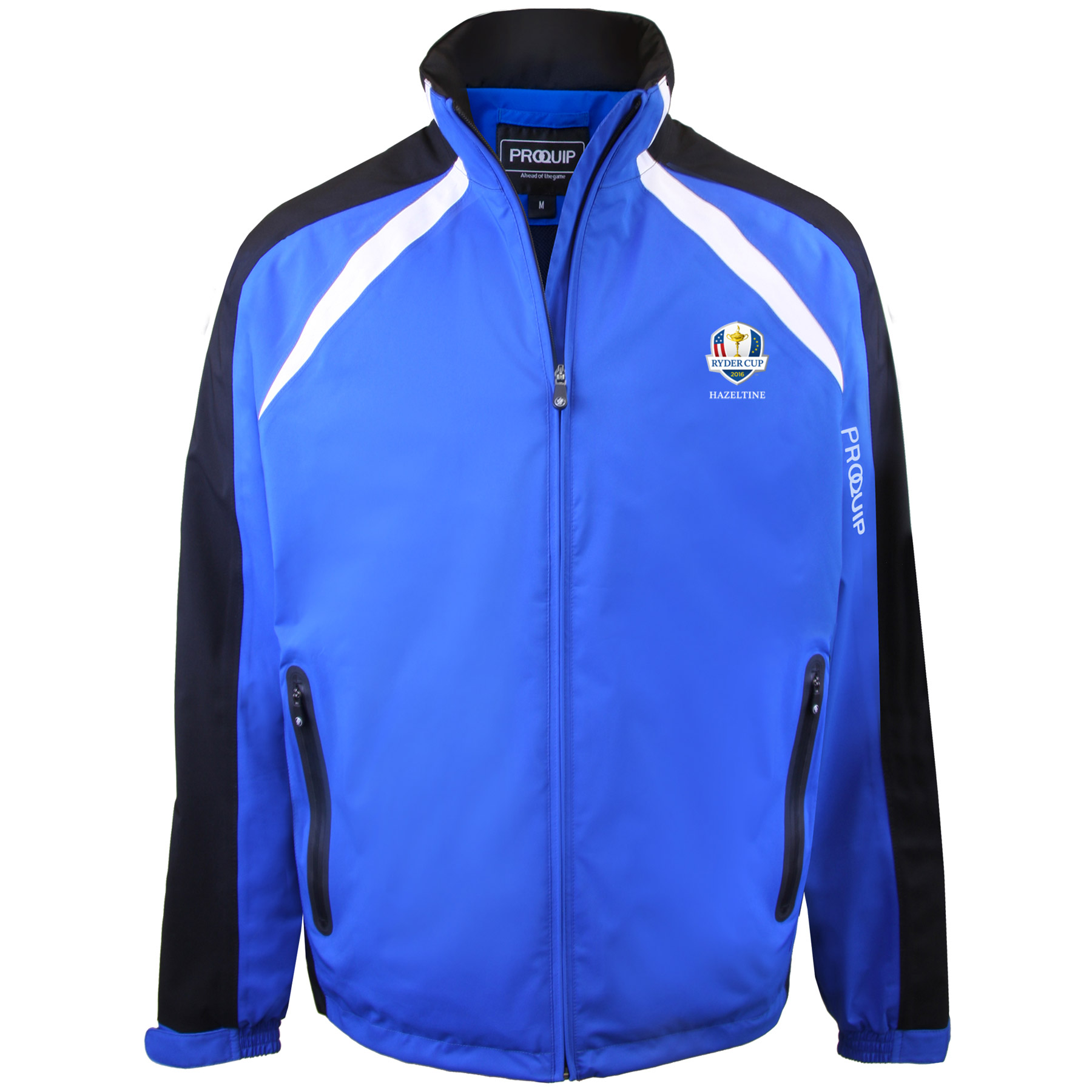 The 2016 Ryder Cup Proquip Trophy Waterproof Jacket - Blue/Black/White