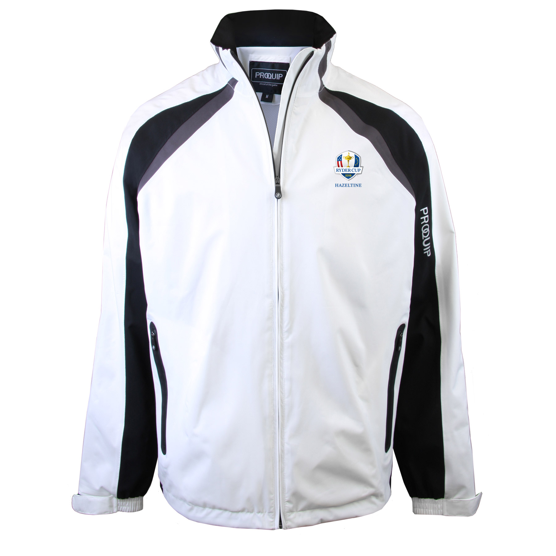 The 2016 Ryder Cup Proquip Trophy Waterproof Jacket - White/Black/Grey