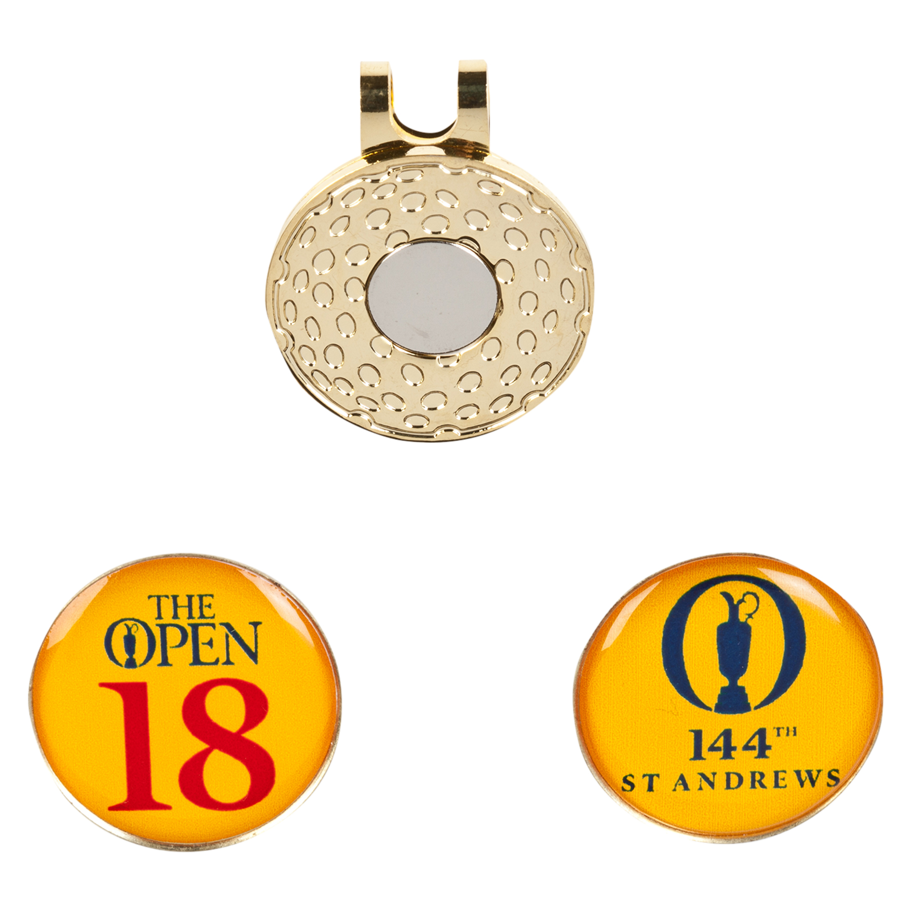 The Open 144th St Andrews Cap Clip & 2 Ballmarkers