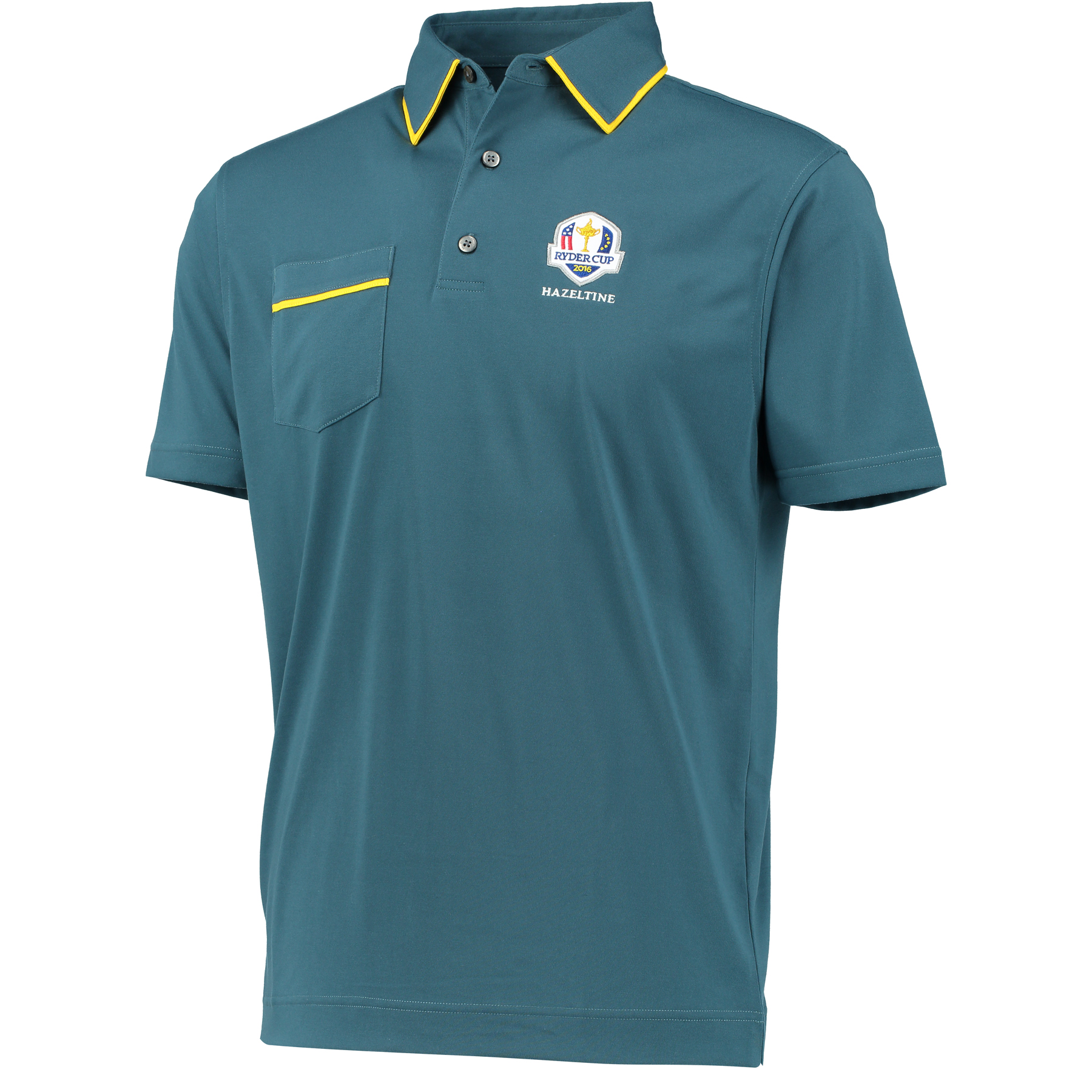 The 2016 Ryder Cup Solid Jersey Polo With Pocket - Graphite/Chrome Yellow