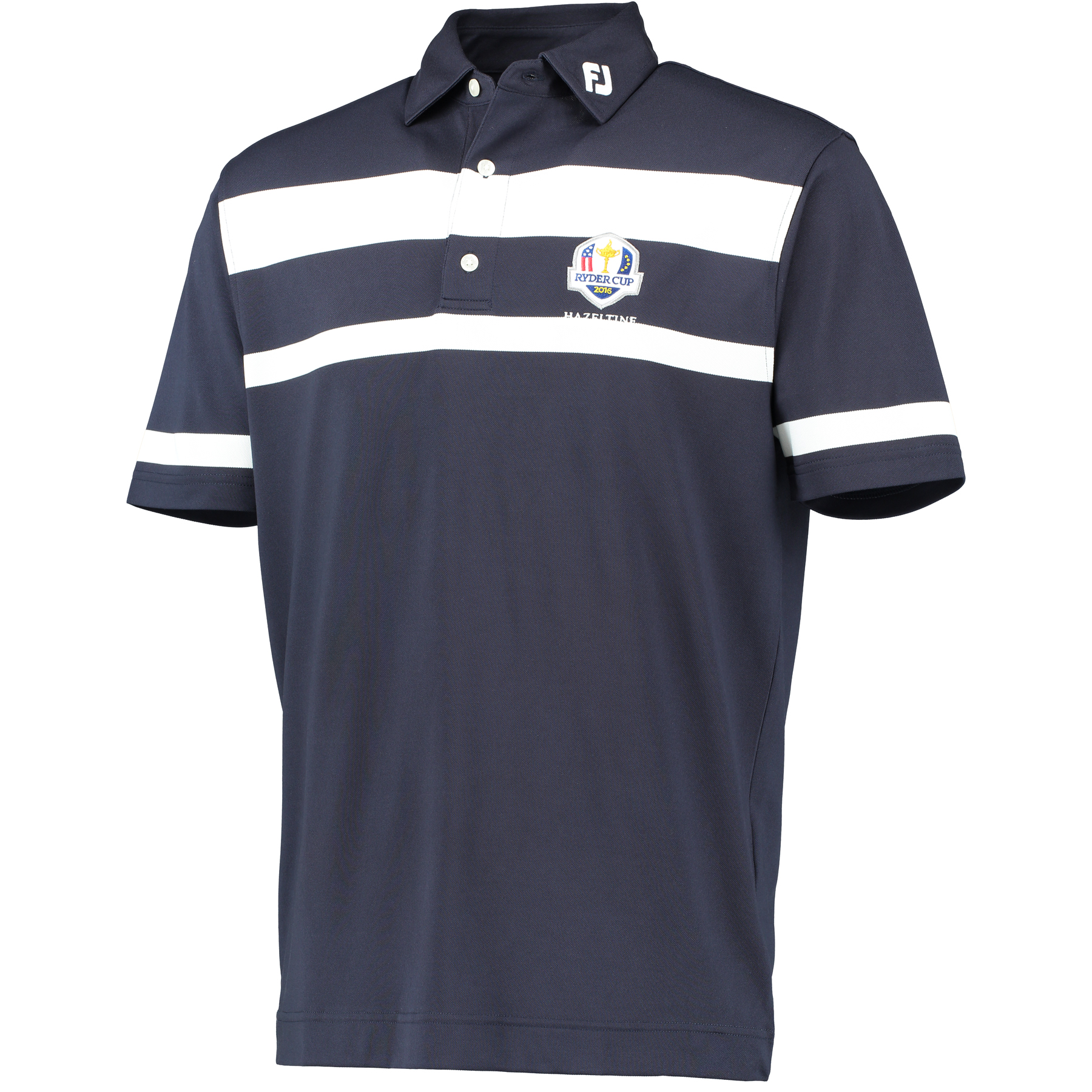 The 2016 Ryder Cup Footjoy Stretch Pique Stripe Polo - Navy/White