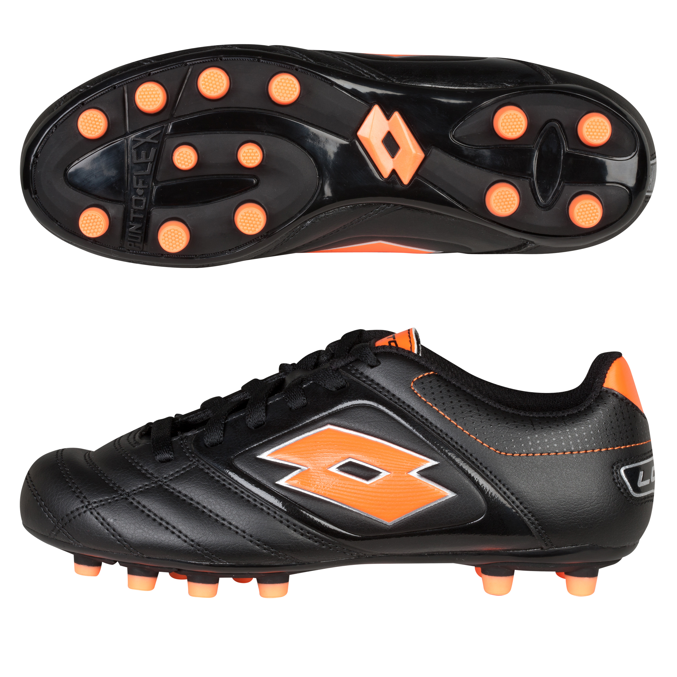 Lotto Stadio Potenza 500 Firm Ground Football Boots - Black/Orange Fluo