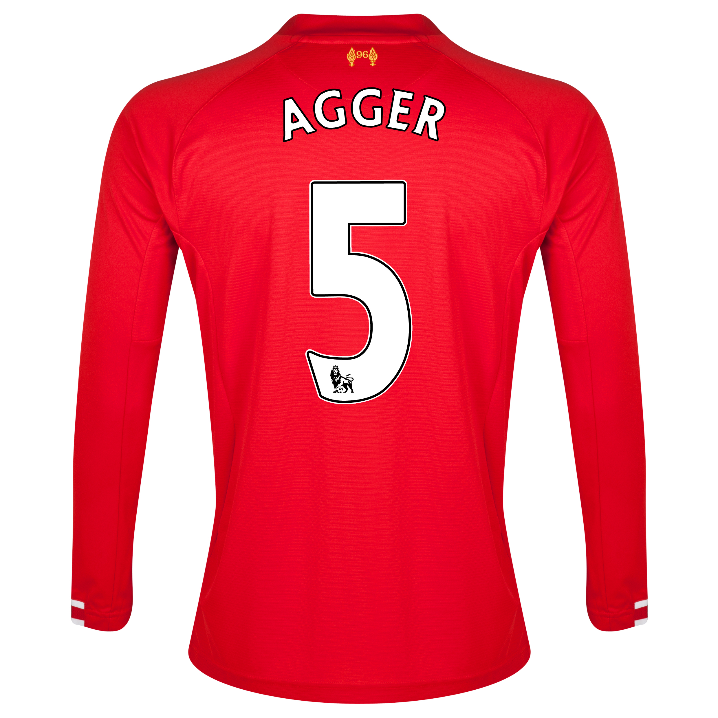 Liverpool Home Shirt 2013/14 Long sleeve with Agger 5 printing