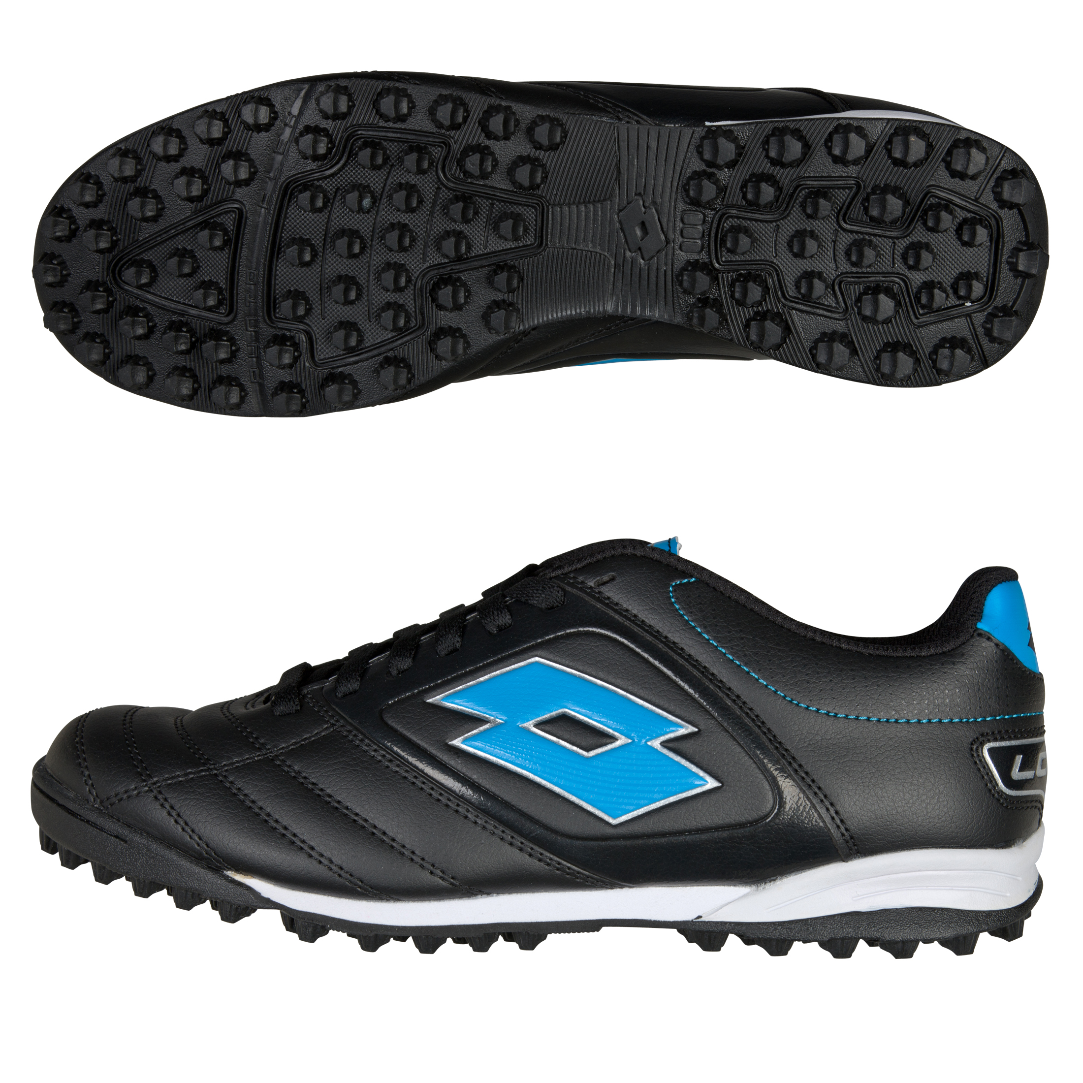 Lotto Stadio Potenza 500 Astro Turf Trainers - Black/Blue Fluo