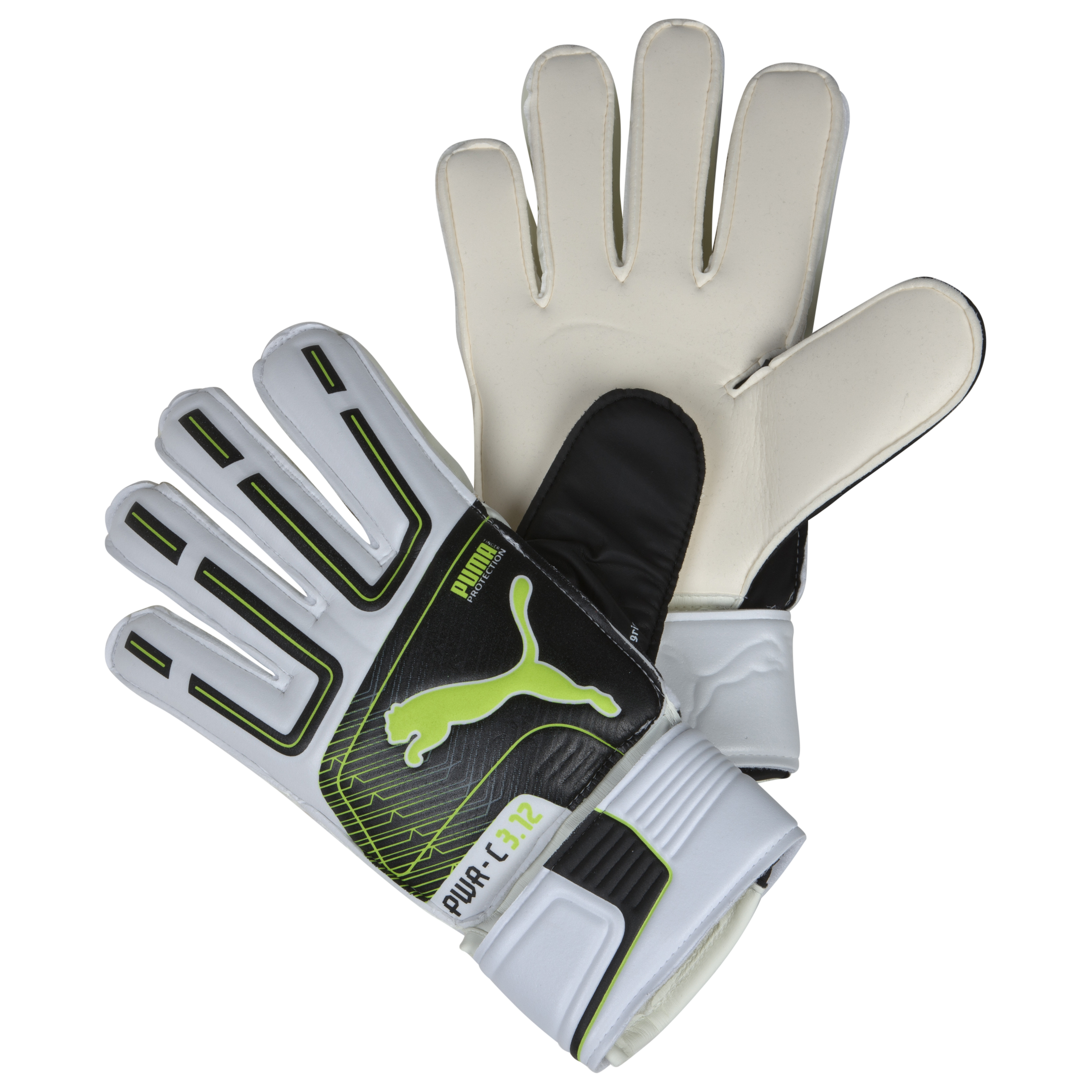 Puma PowerCat 3.12 Protect Goalkeeper Gloves - White/Black/Lime Punch/Dark Shadow