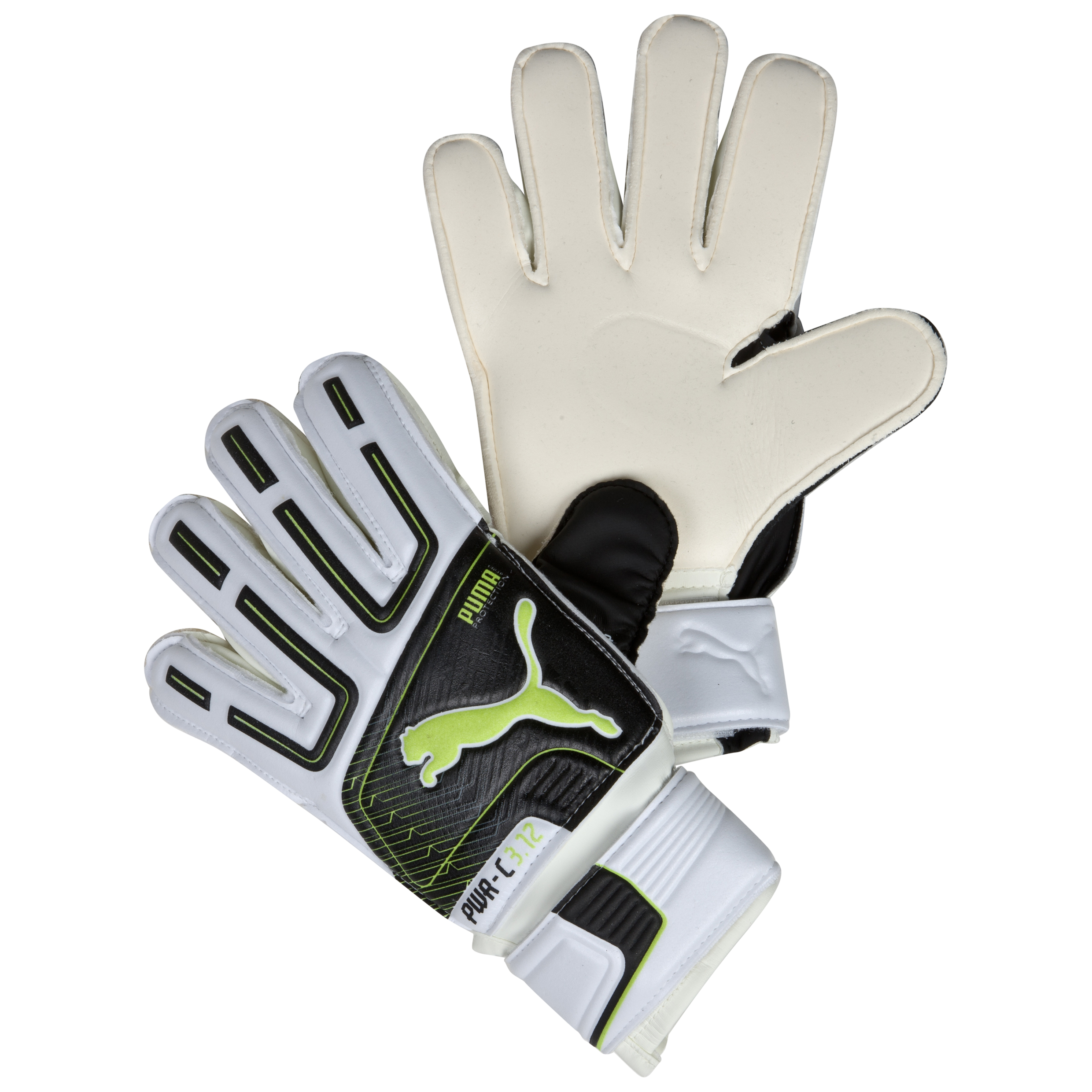 Puma PowerCat 3.12 Protect Junior Goalkeeper Gloves - White/Black/Lime Punch/Dark Shadow