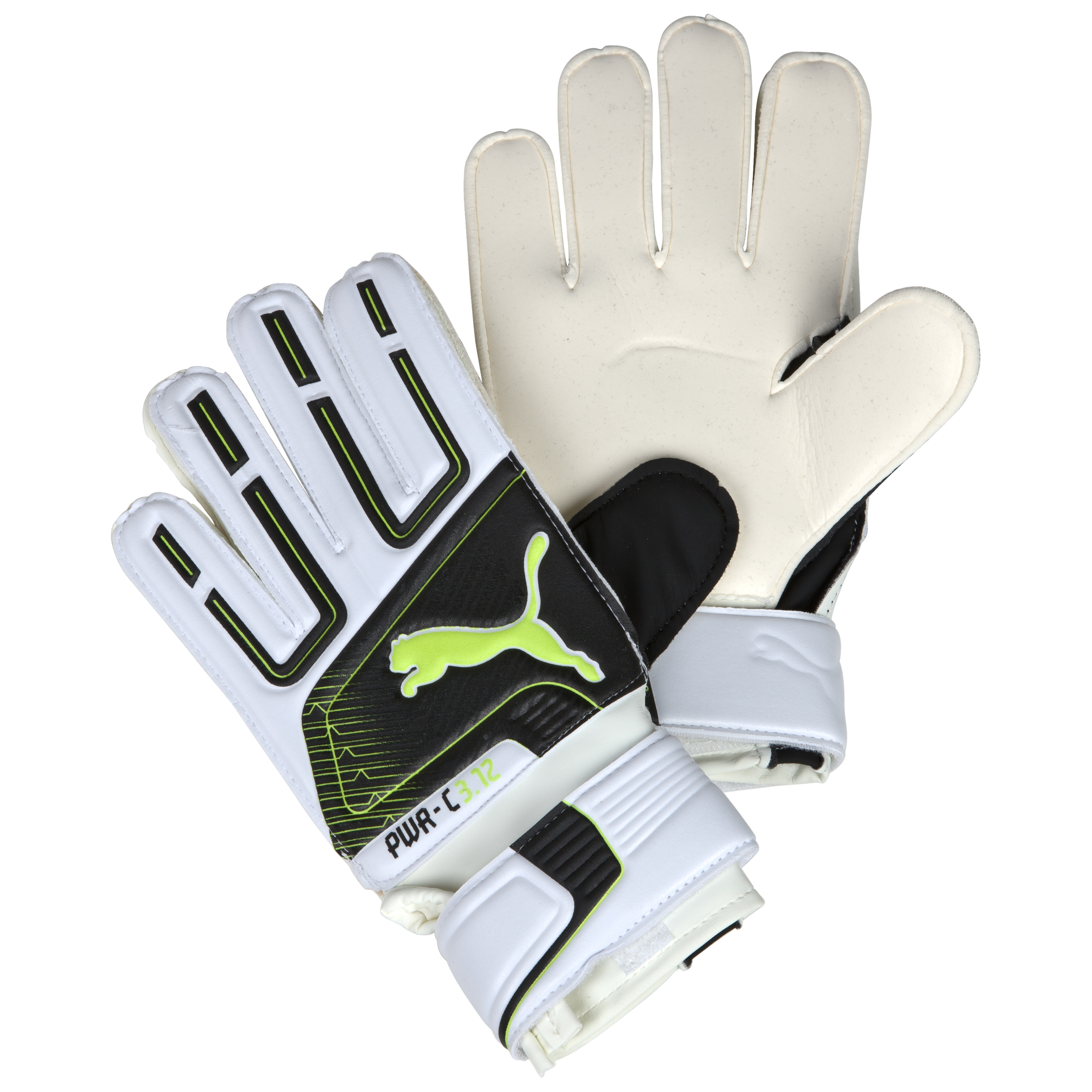 Puma PowerCat 3.12 Grip RC Junior Goalkeeper Gloves - White/Black/Lime Punch/Dark Shadow