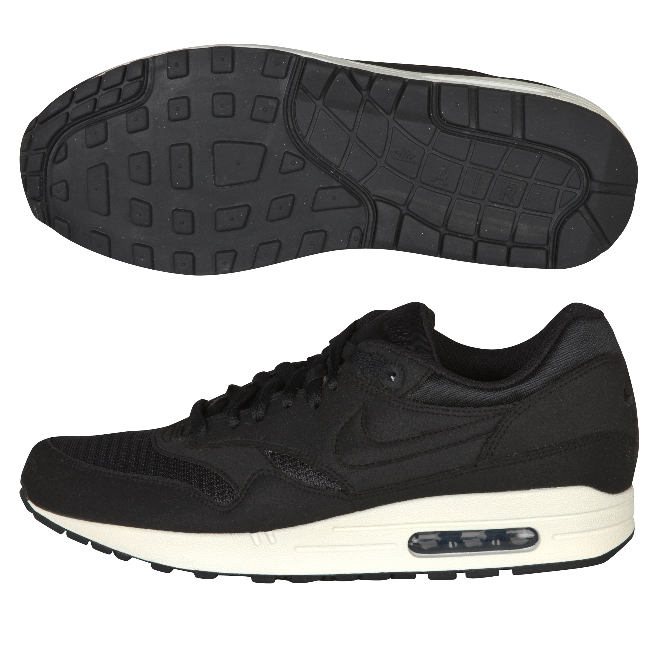 Nike Air Max 1 Trainers - Black/Black/Sail