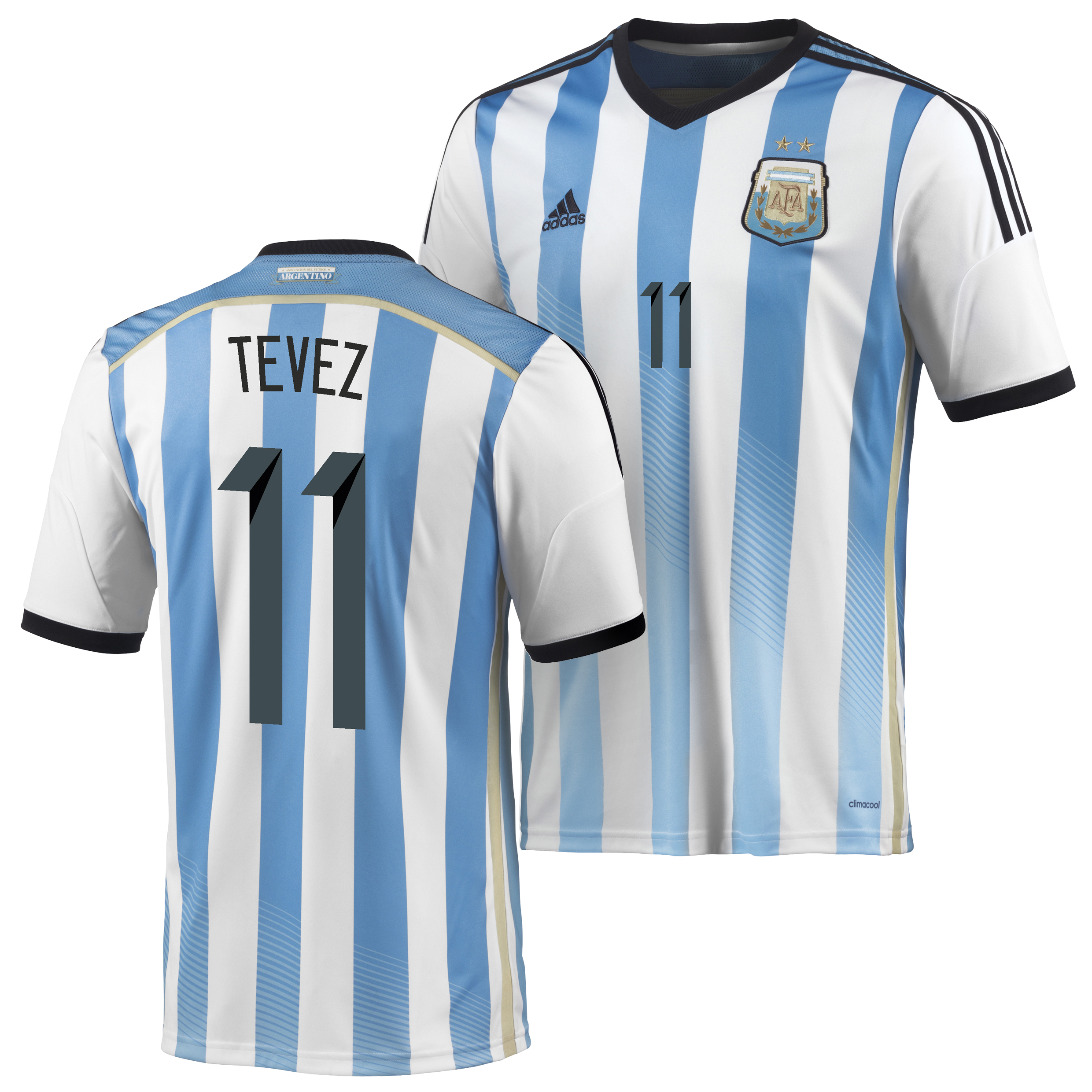 Argentina Home Shirt 2013/15 - Kids with Tevez 11 printing