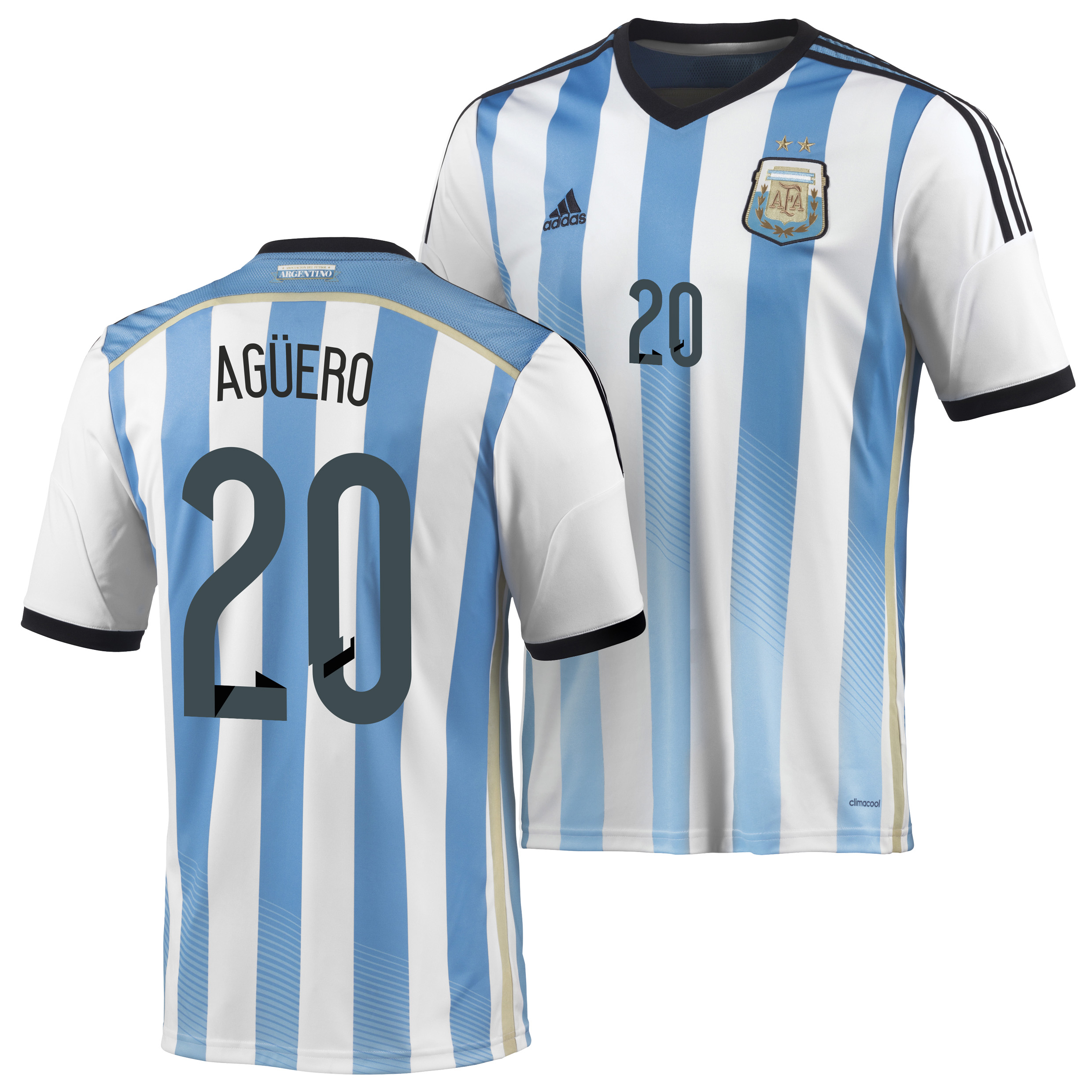 Argentina Home Shirt 2013/15 - Kids with Aguero 16 printing