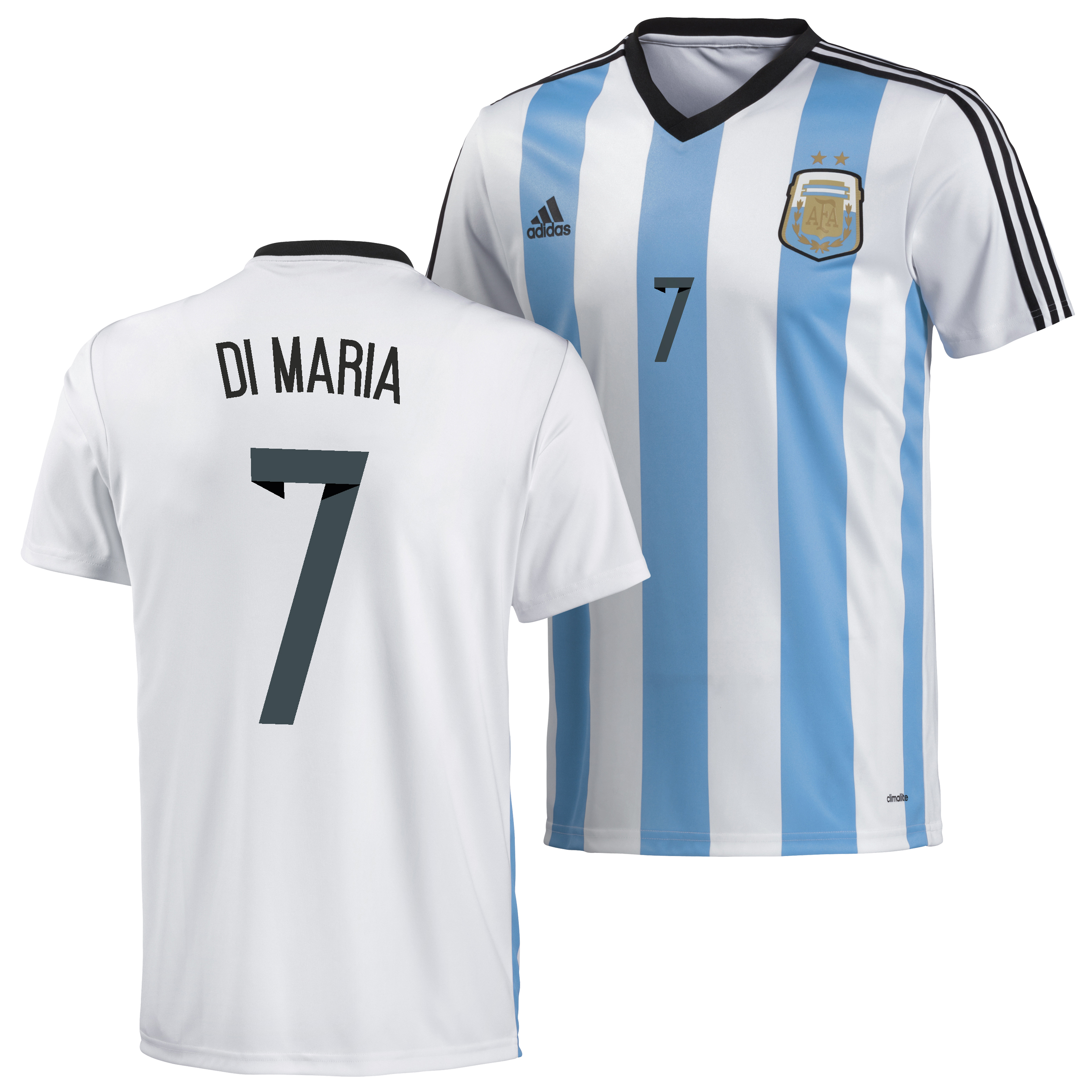 Argentina Home Replica T-Shirt 2013/14 with Di Maria 7 printing