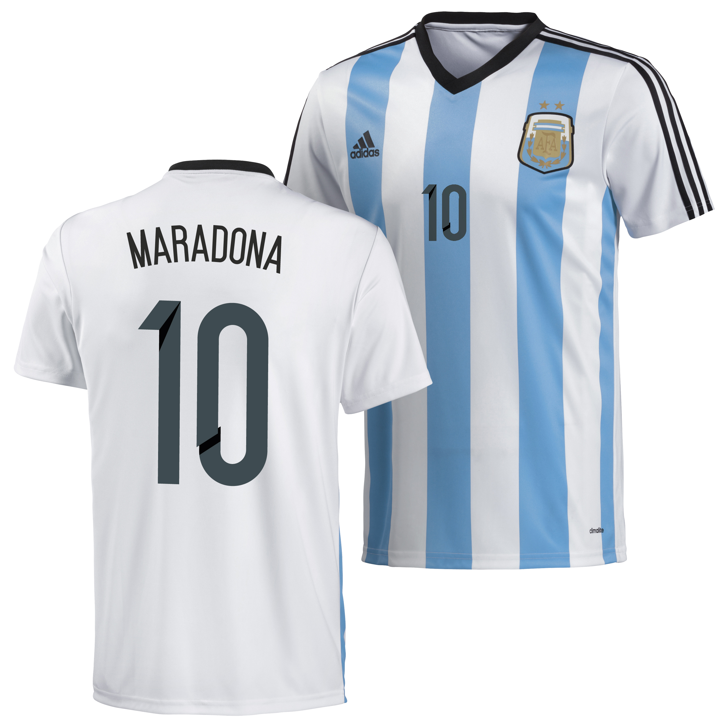 Argentina Home Replica T-Shirt 2013/14 with Maradona 10 printing