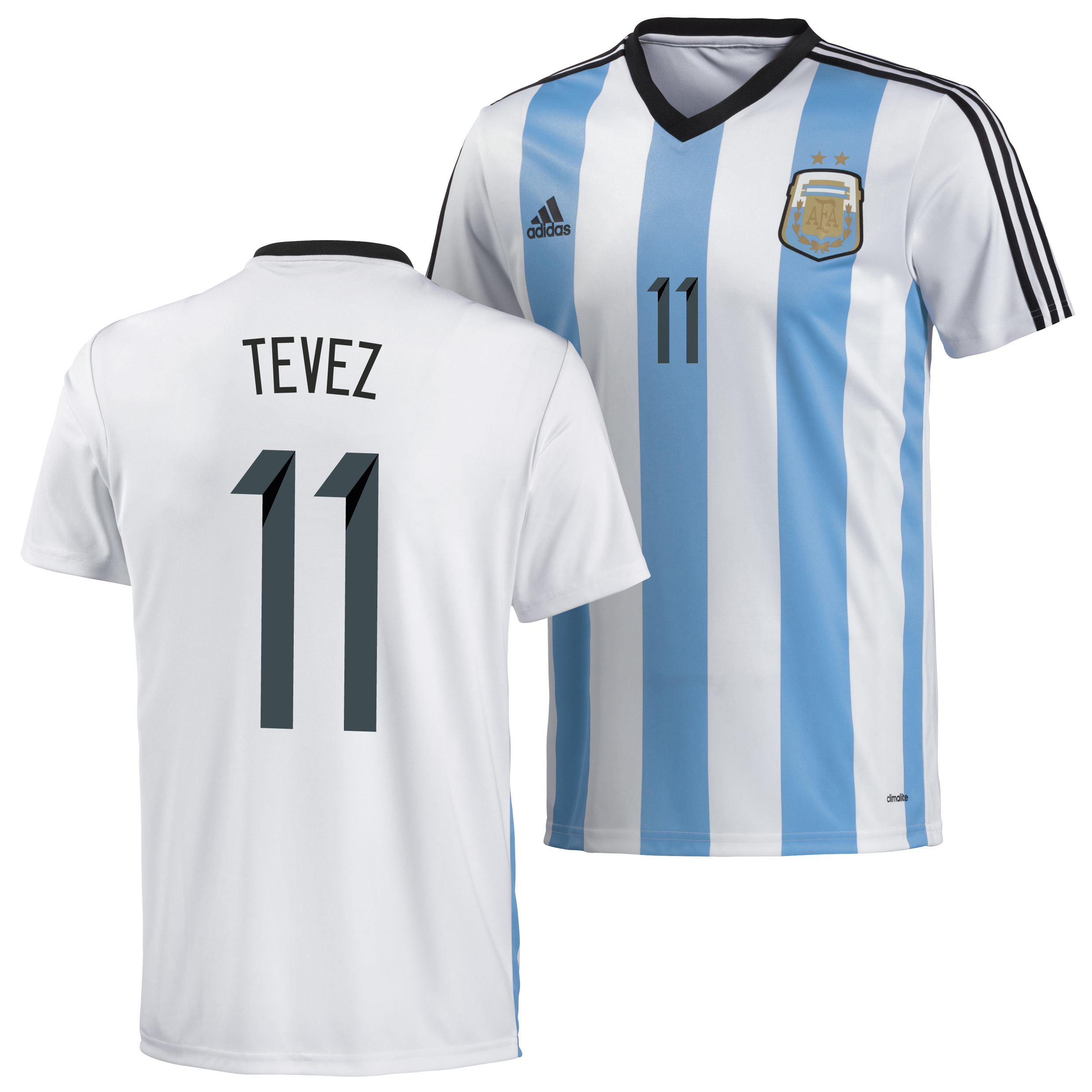 Argentina Home Replica T-Shirt 2013/14 with Tevez 11 printing