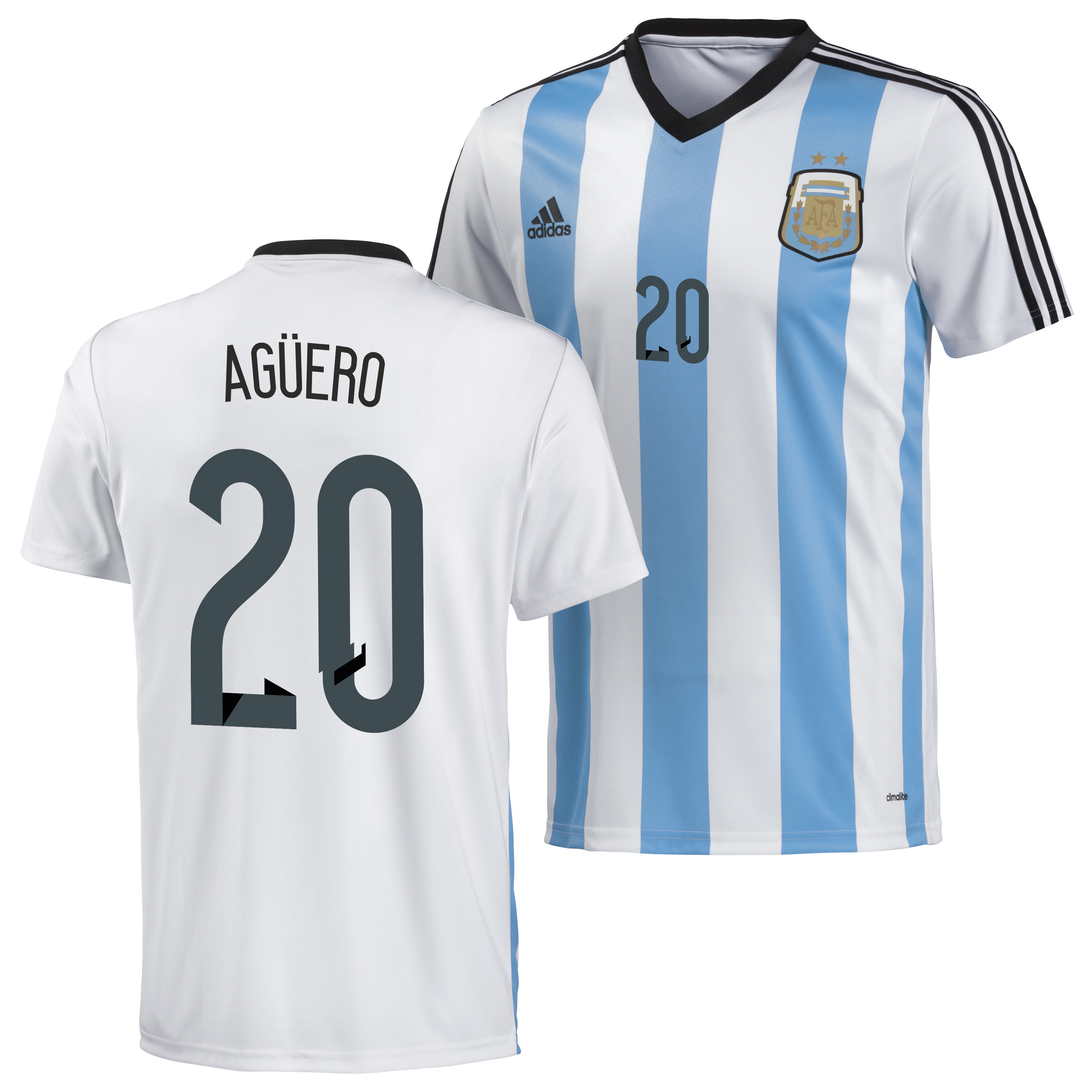 Argentina Home Replica T-Shirt 2013/14 with Aguero 20 printing
