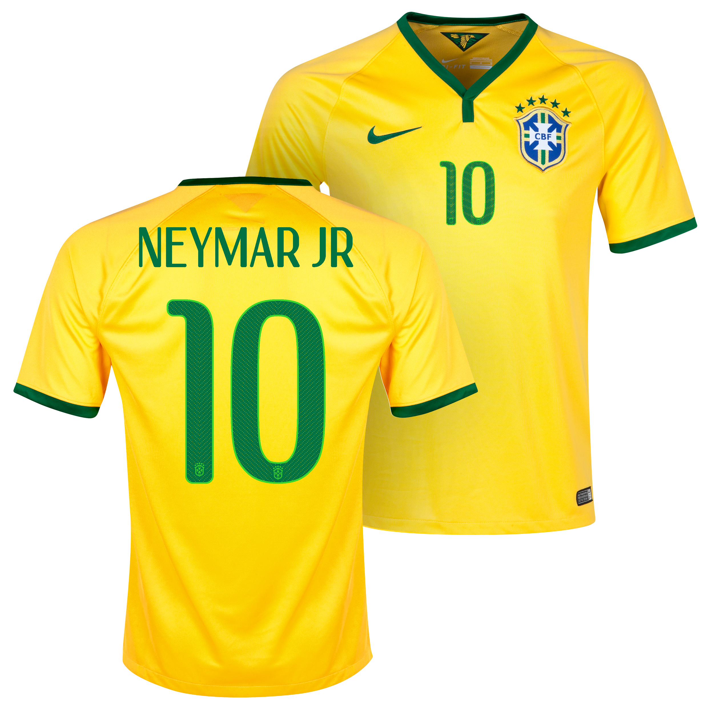 Brazil Home Shirt 2013/15 Yellow with Neymar Jr 10 printing
