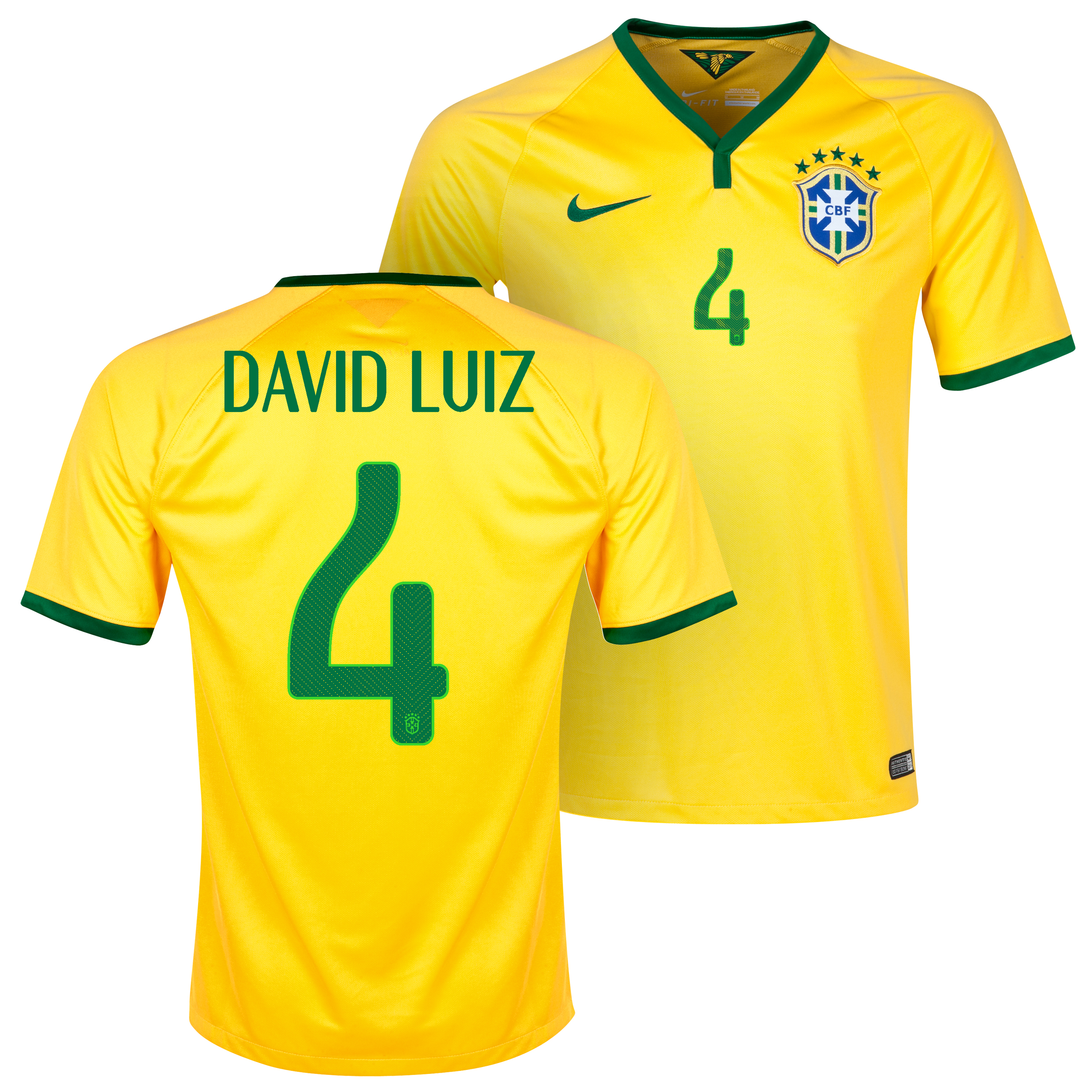 Brazil Home Shirt 2013/15 - Kids Yellow with David Luiz 4 printing