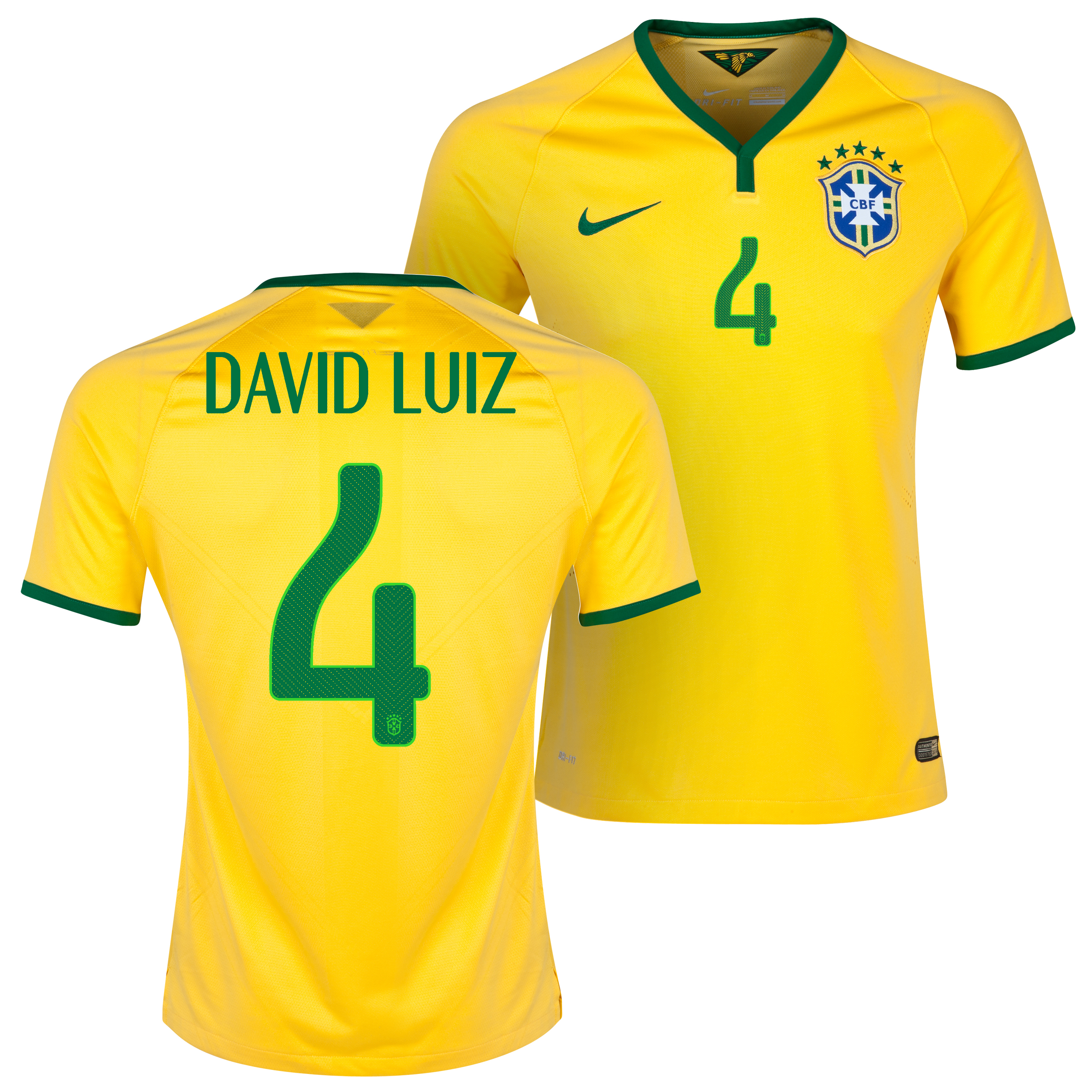 Brazil Match Home Shirt 2013/15 Yellow with David Luiz 4 printing