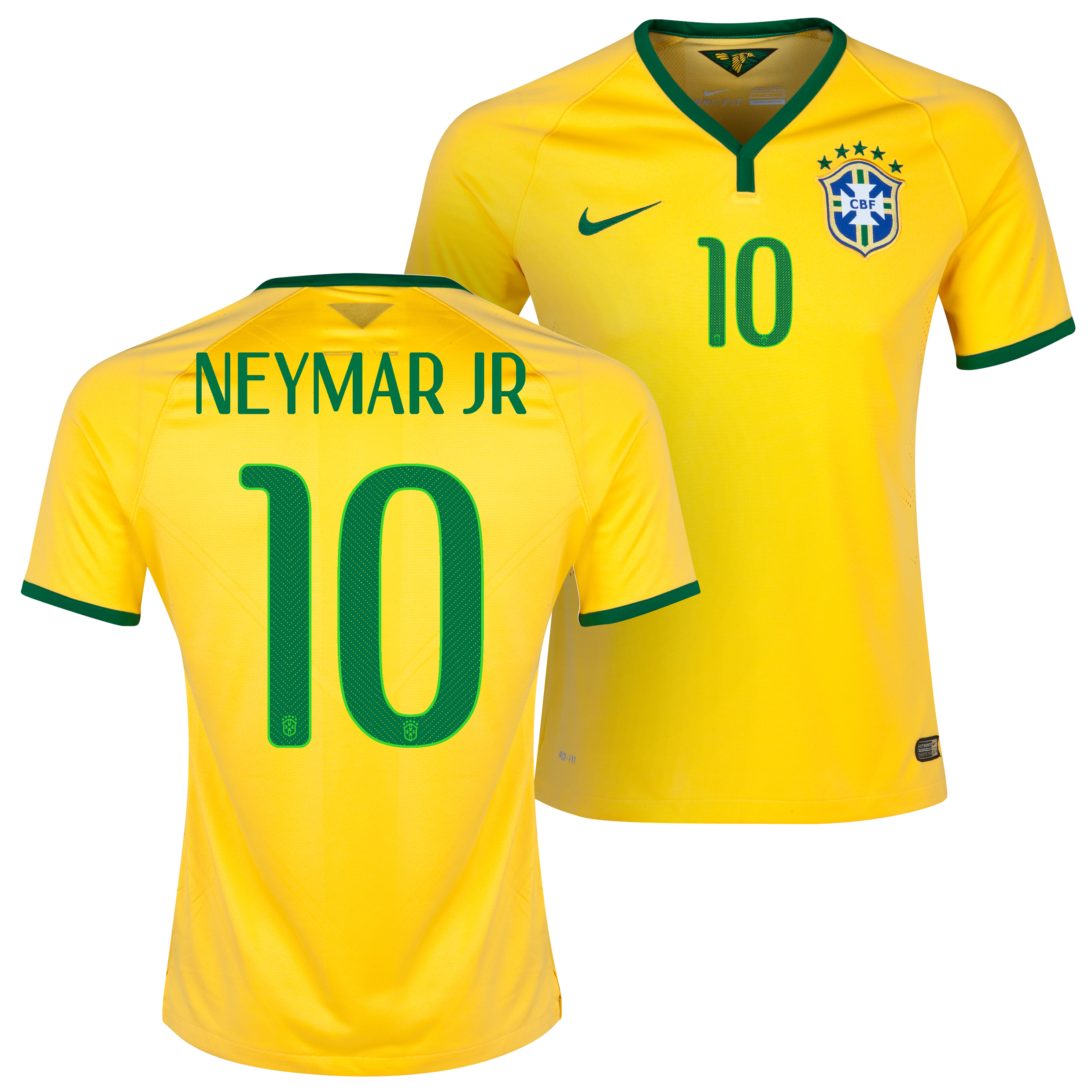 Brazil Match Home Shirt 2013/15 Yellow with Neymar Jr 10 printing