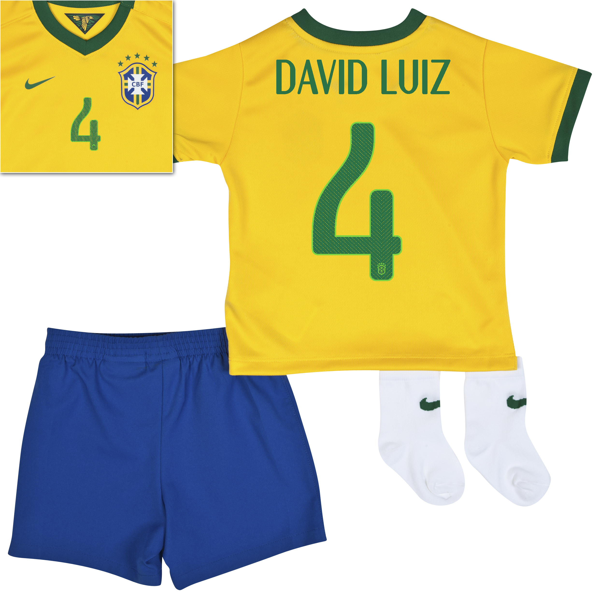 Brazil Home Kit 2013/15 - Little Boys Yellow with David Luiz 4 printing