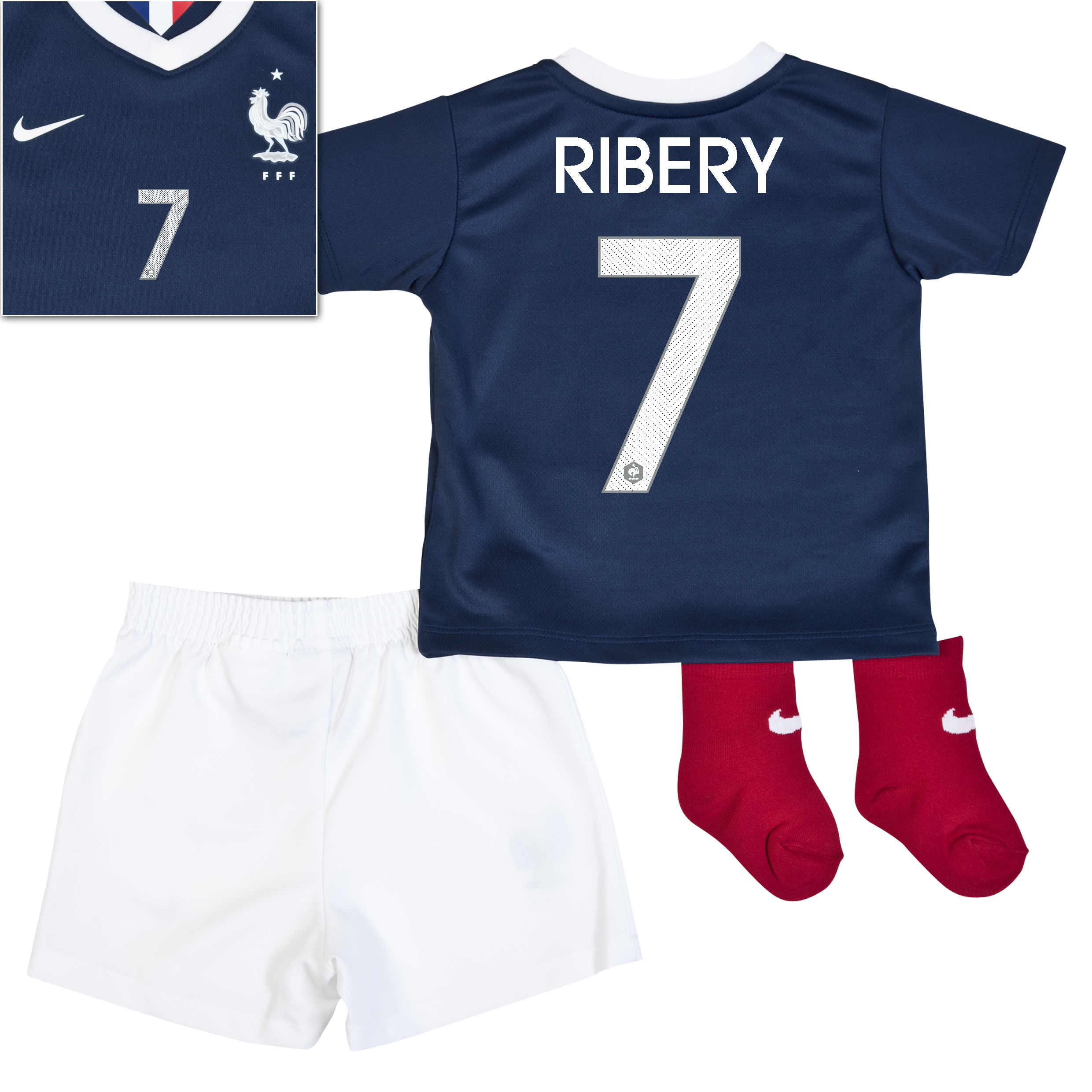 France Home Kit 2013/15 - Little Boys Navy with Ribery 7 printing