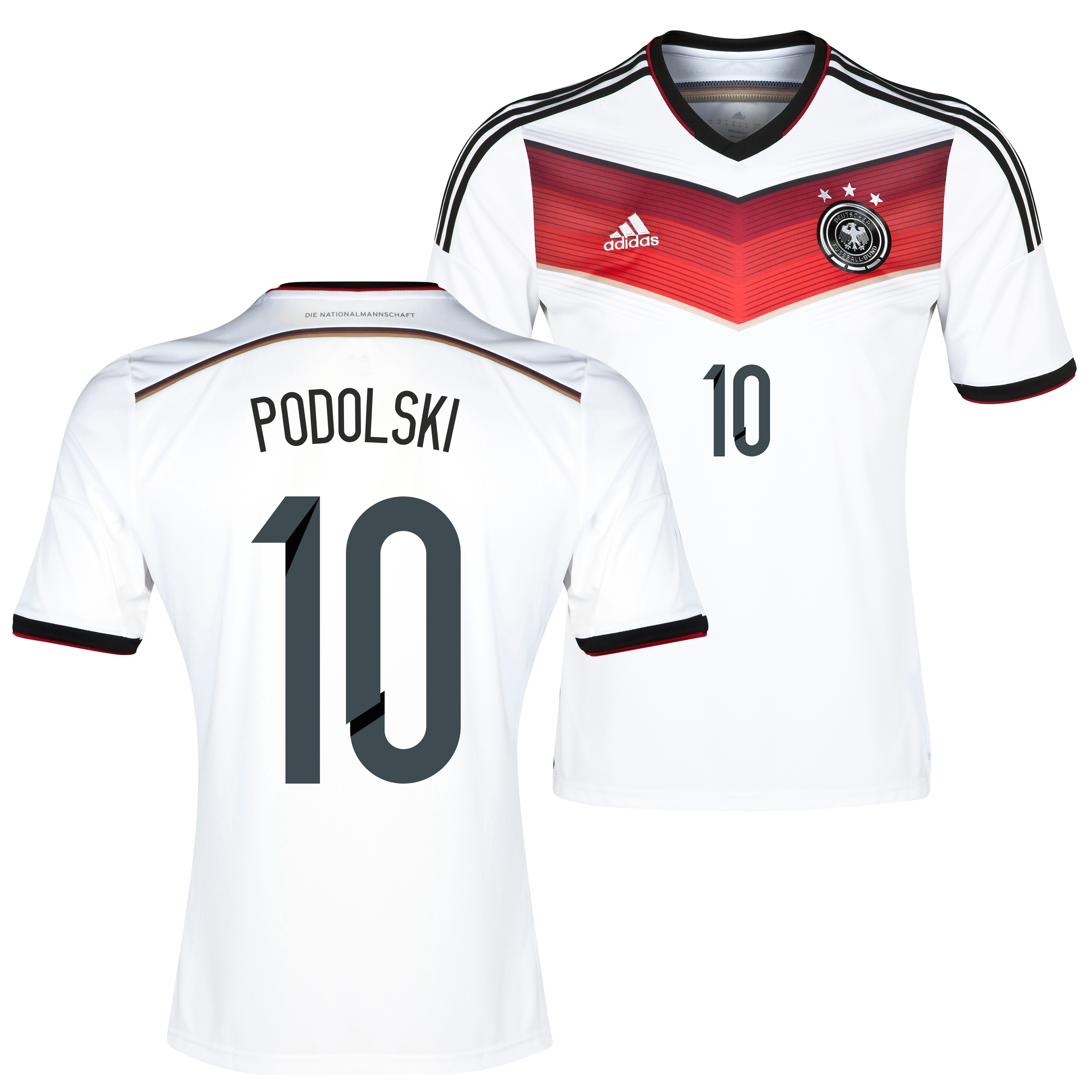 Germany Home Shirt 2013/15 with Podolski 10 printing
