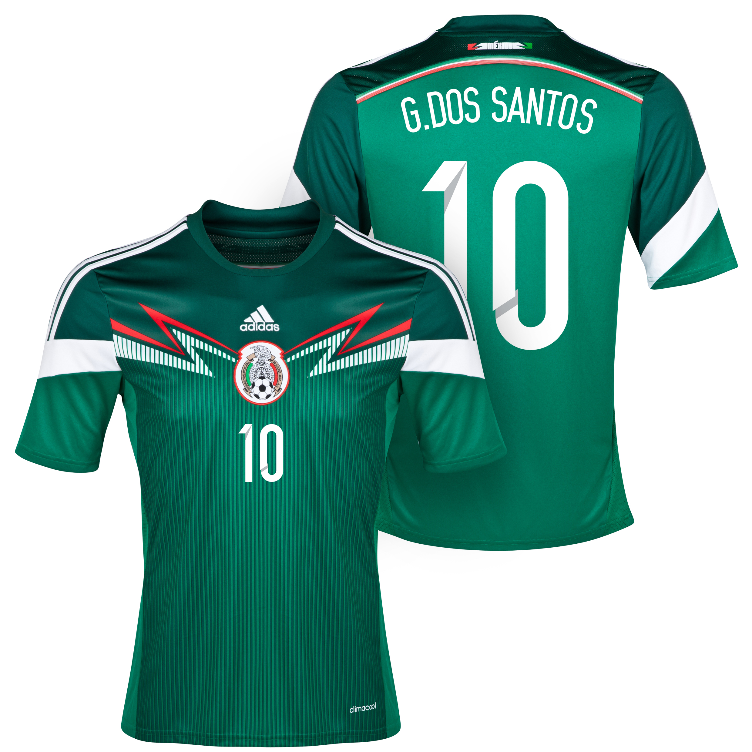 Mexico Home Shirt 2013/15 with G. Dos Santos 10 printing
