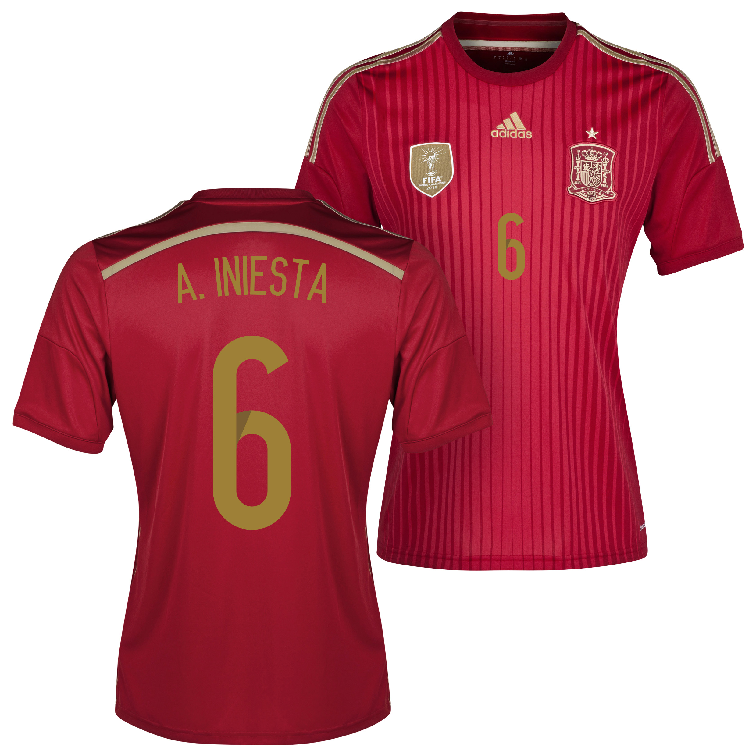 Spain Home Shirt 2013/15 with A.Iniesta 6 printing