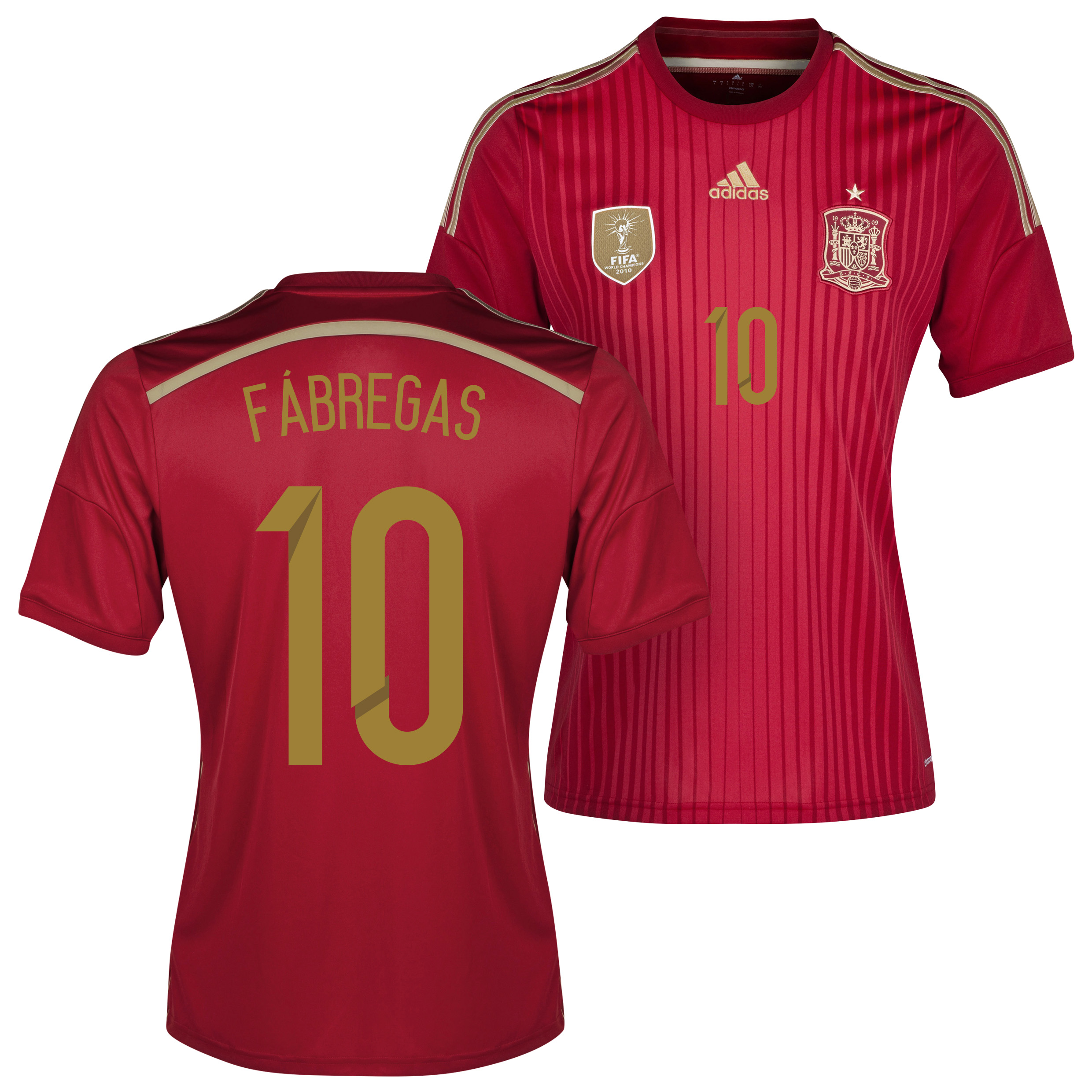 Spain Home Shirt 2013/15 with Fabregas 10 printing