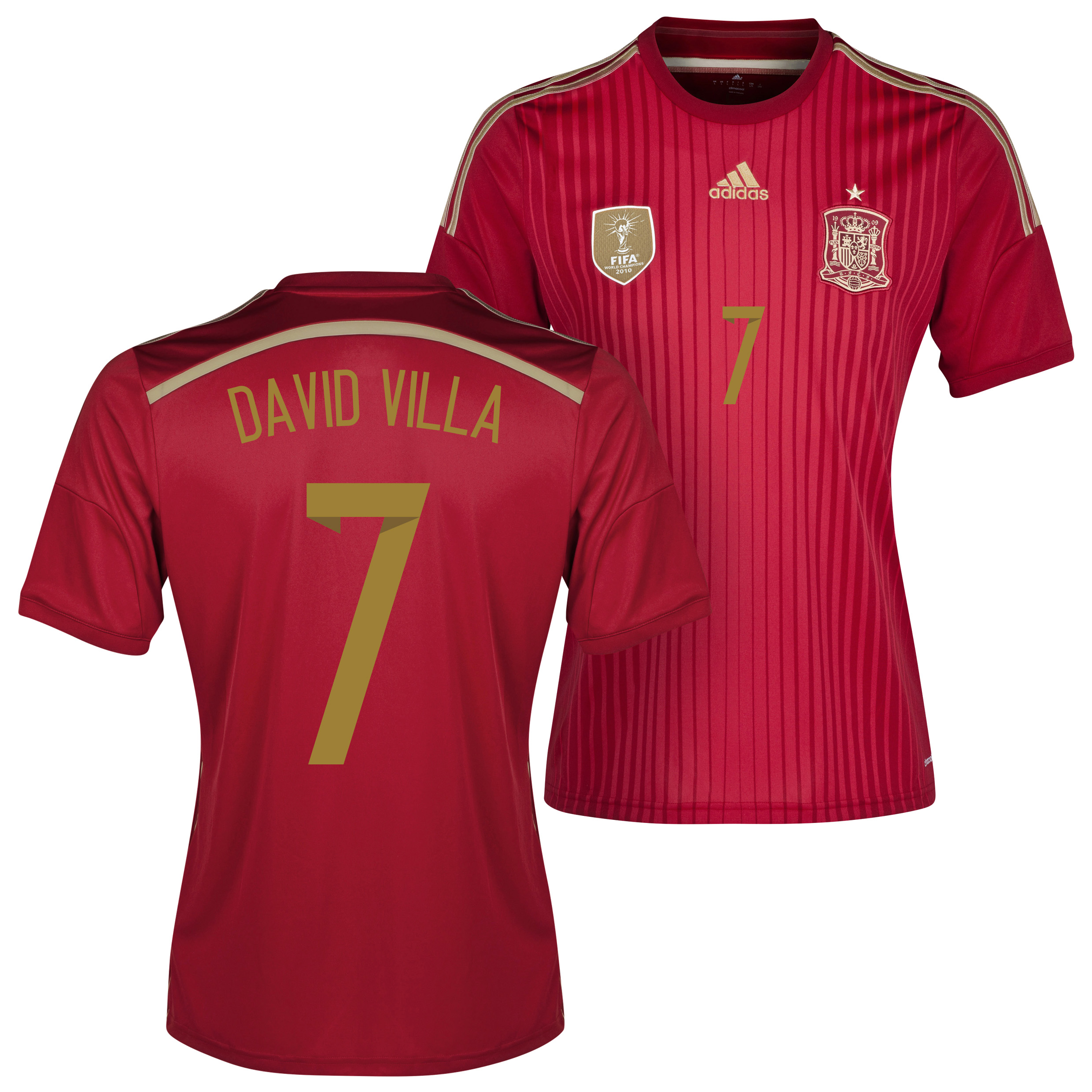 Spain Home Shirt 2013/15 - Kids with David Villa 7 printing