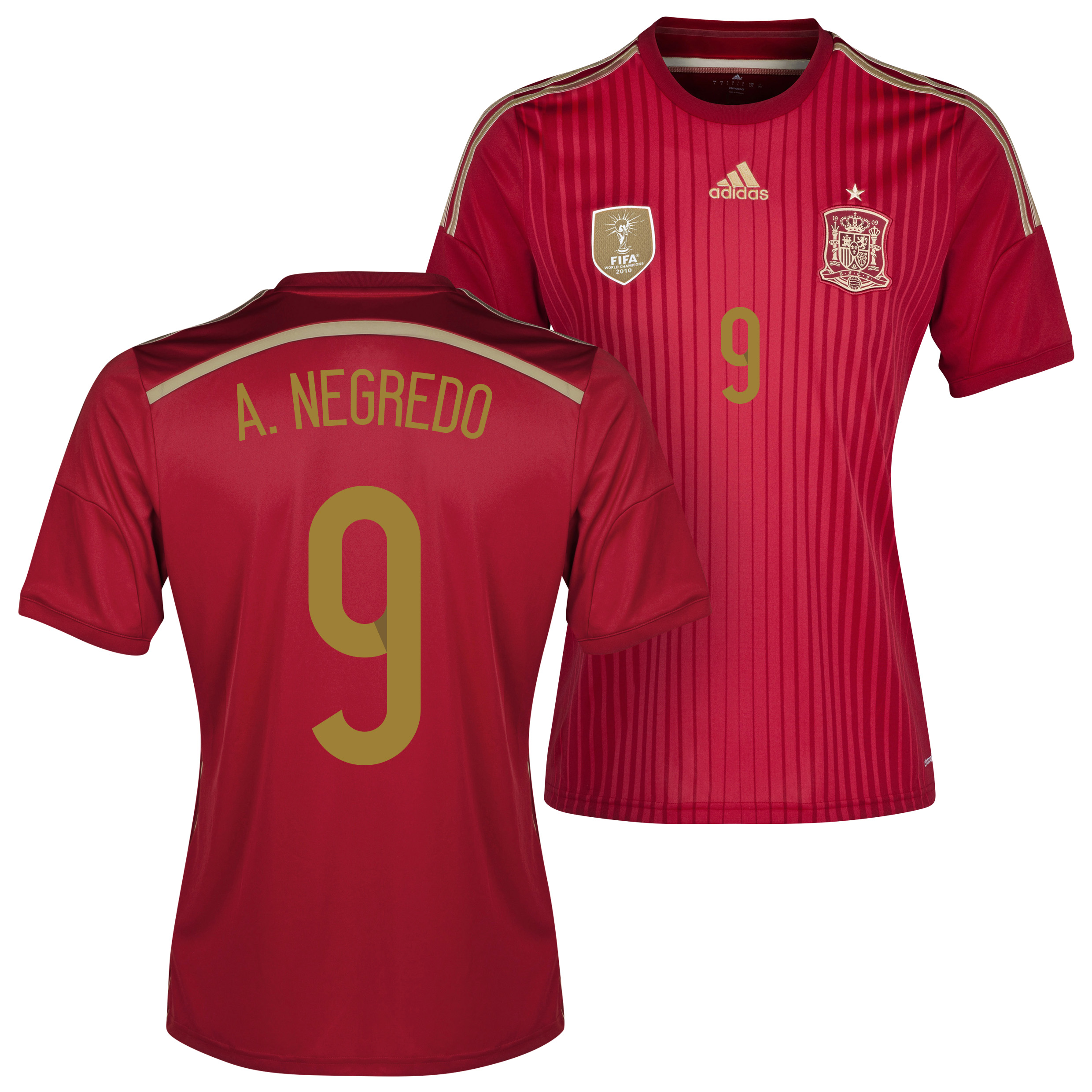 Spain Home Shirt 2013/15 - Kids with Negredo 9 printing