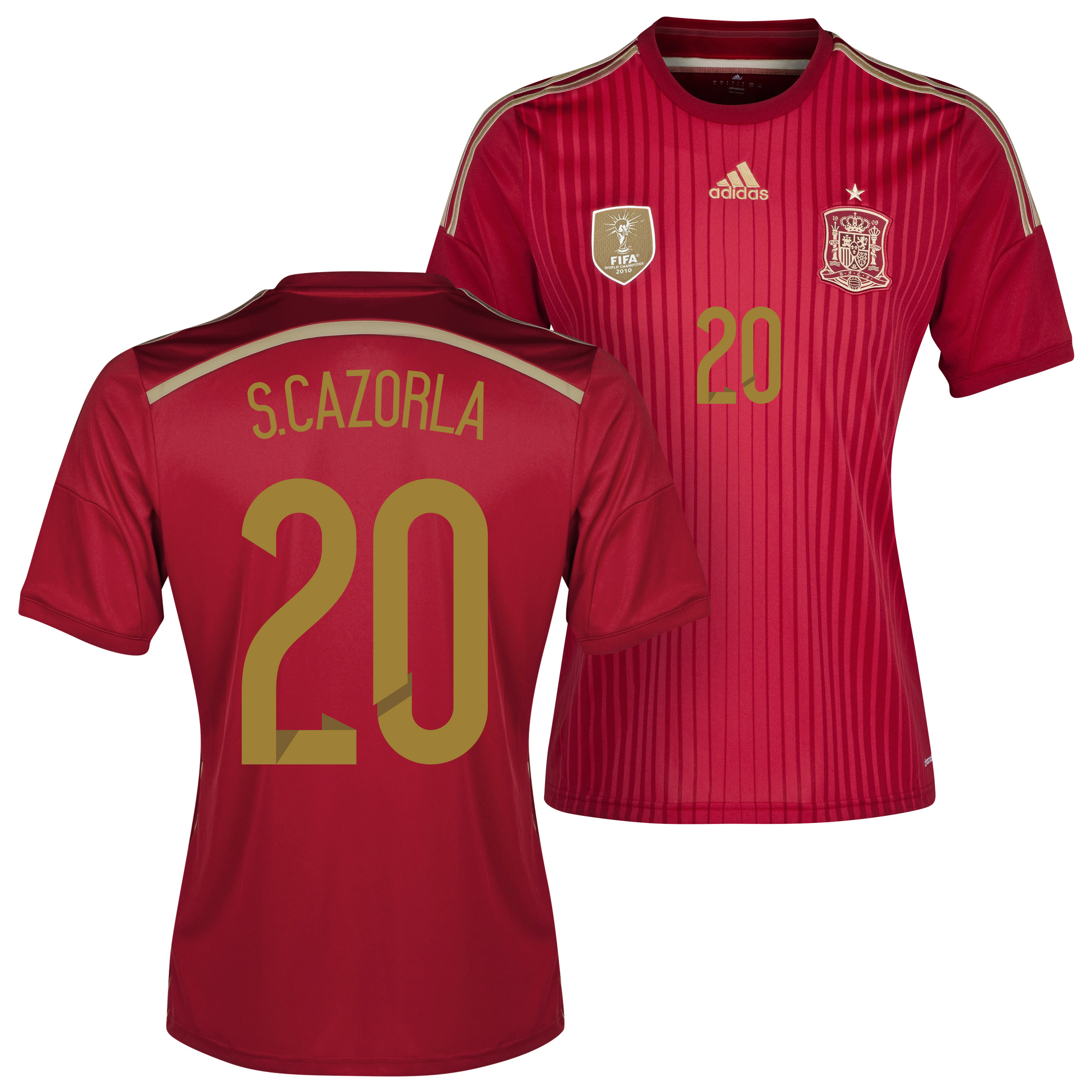 Spain Home Shirt 2013/15 - Kids with S. Cazorla 20 printing