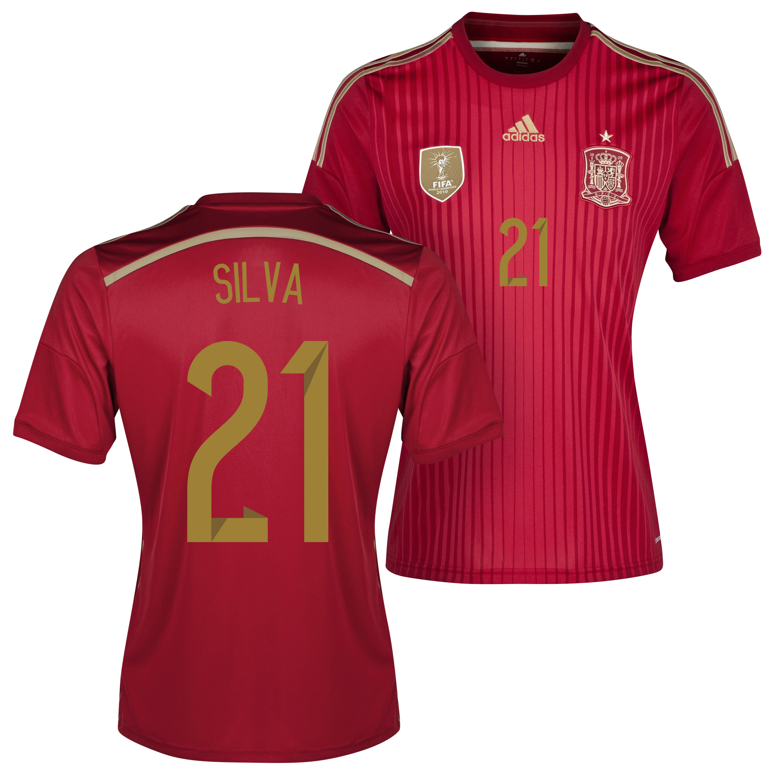 Spain Home Shirt 2013/15 - Kids with David Silva 21 printing