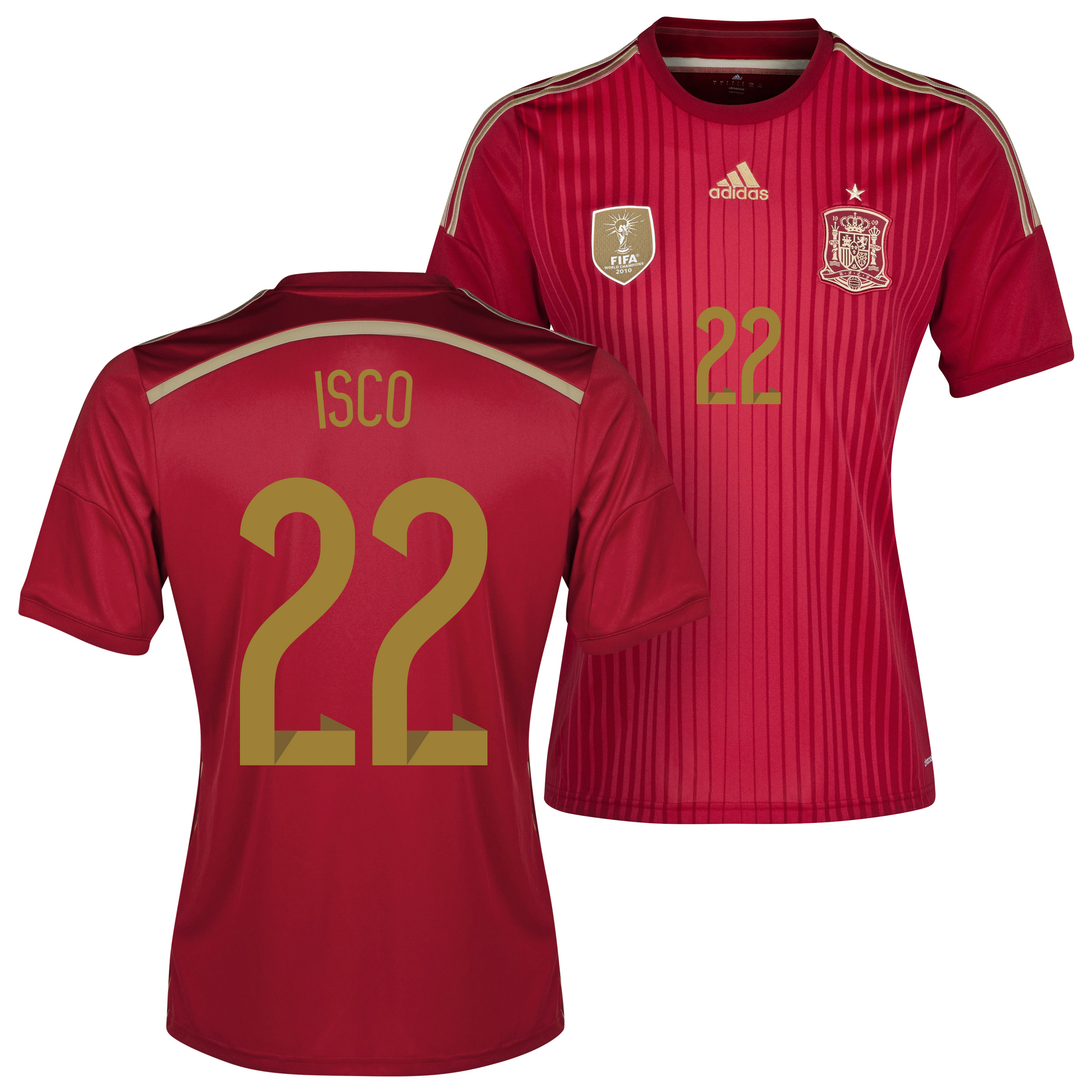 Spain Home Shirt 2013/15 - Kids with Isco 22 printing