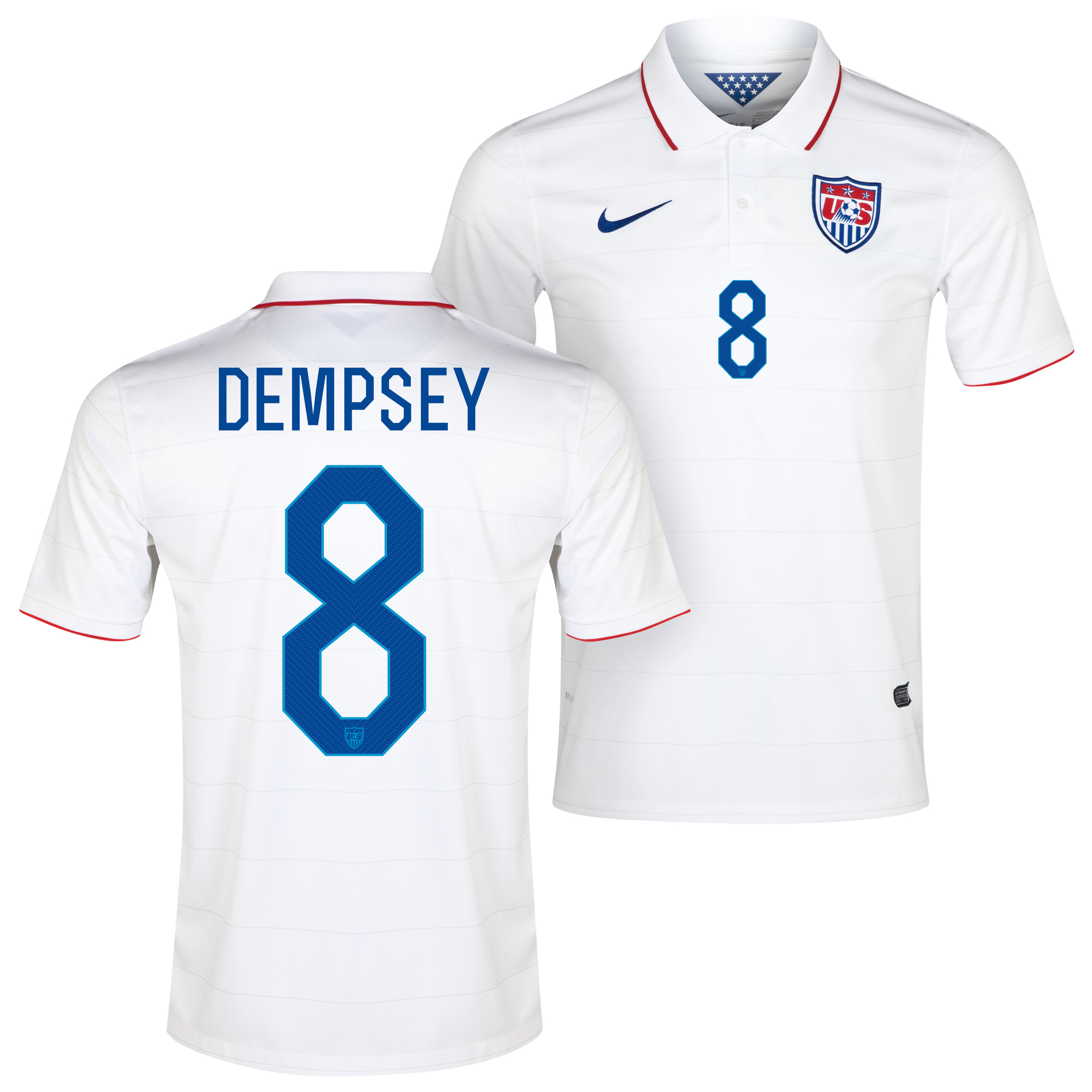 USA Home Shirt 2013/15 White with Dempsey 8 printing