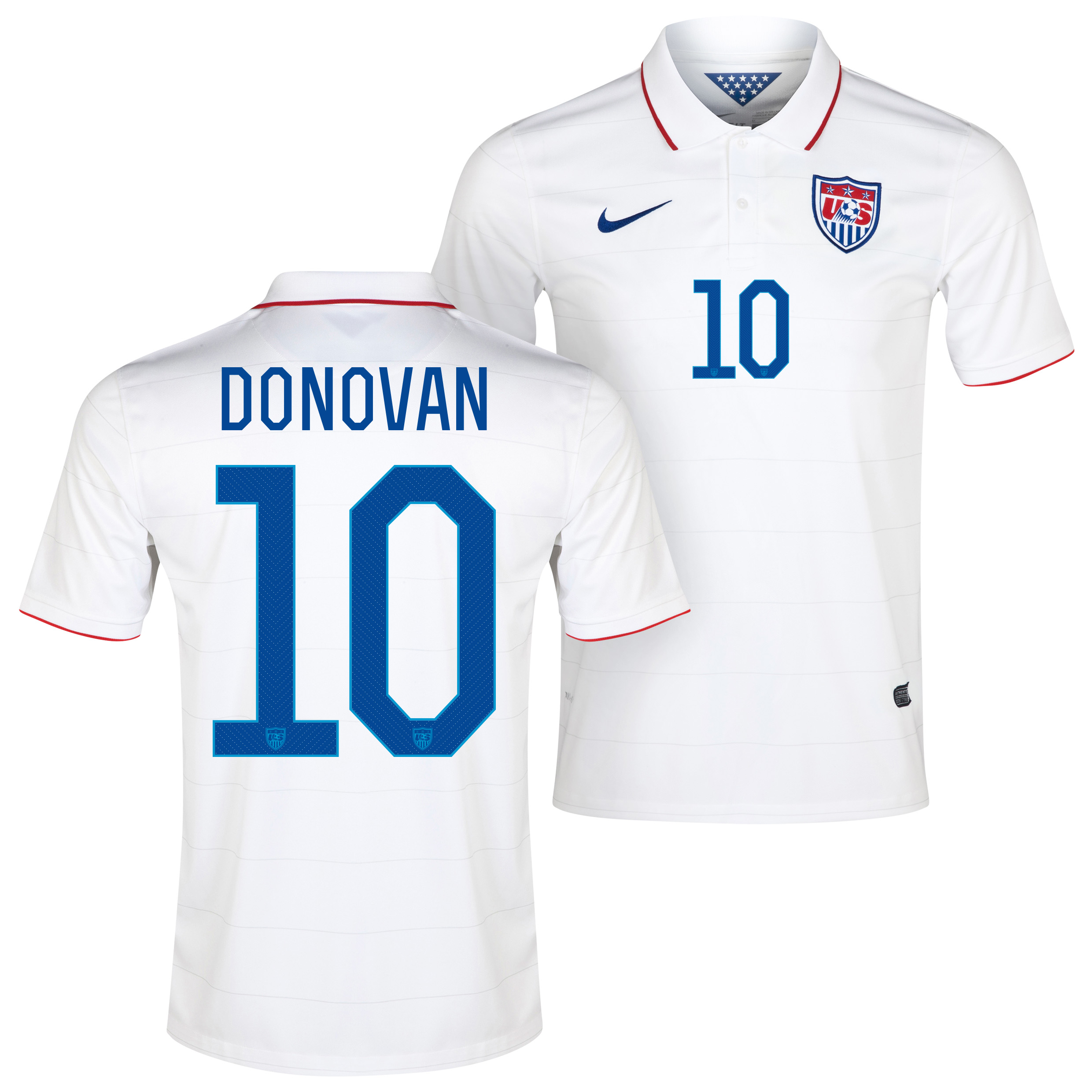 USA Home Shirt 2013/15 White with Donovan 10 printing
