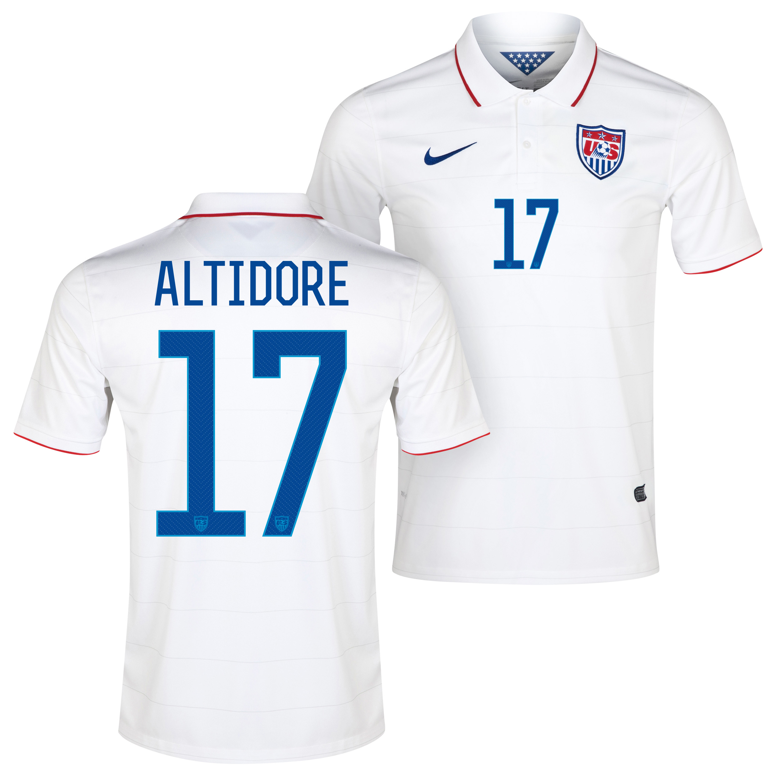 USA Home Shirt 2013/15 White with Altidore 17 printing