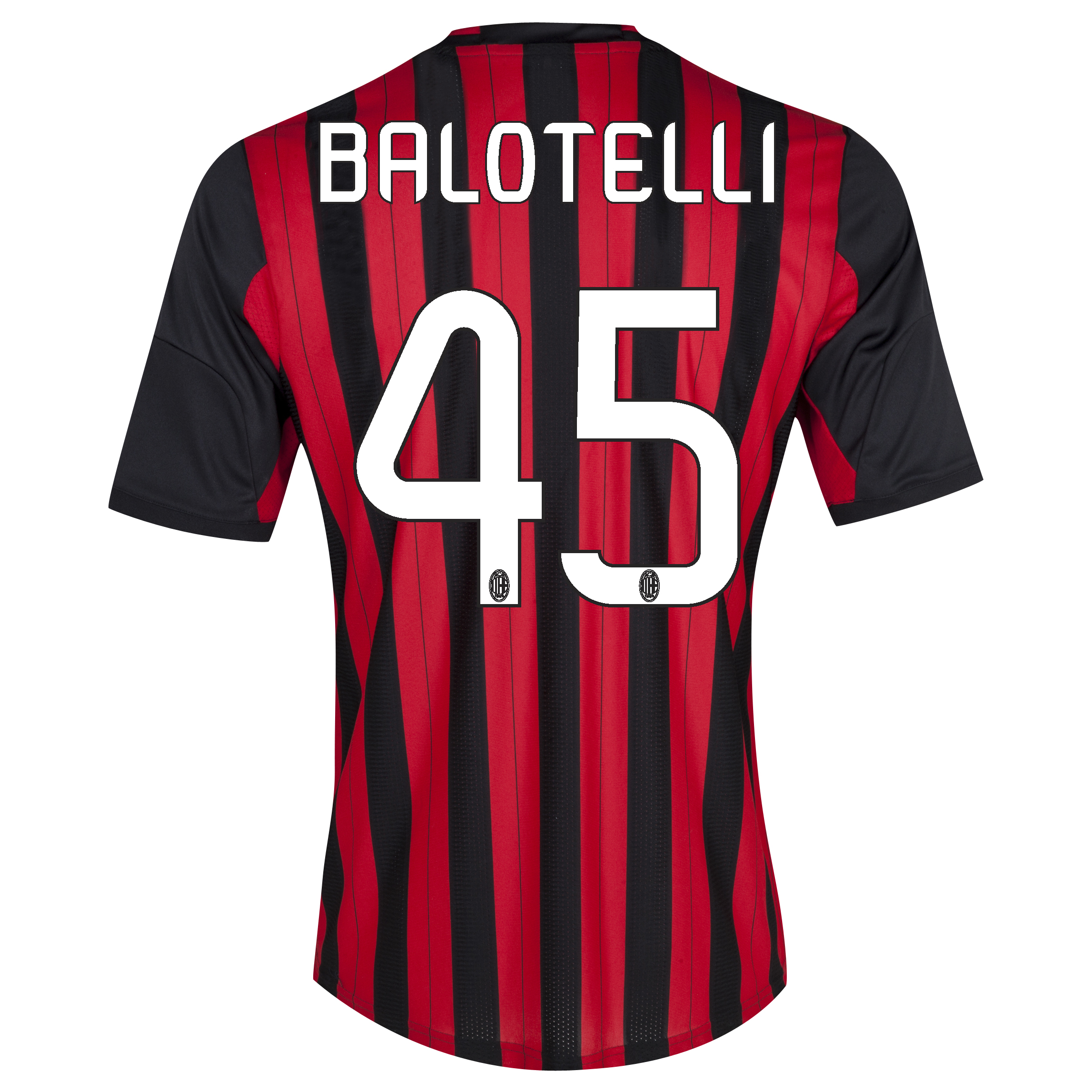 AC Milan Home Shirt 2013/14 with Balotelli 45 printing