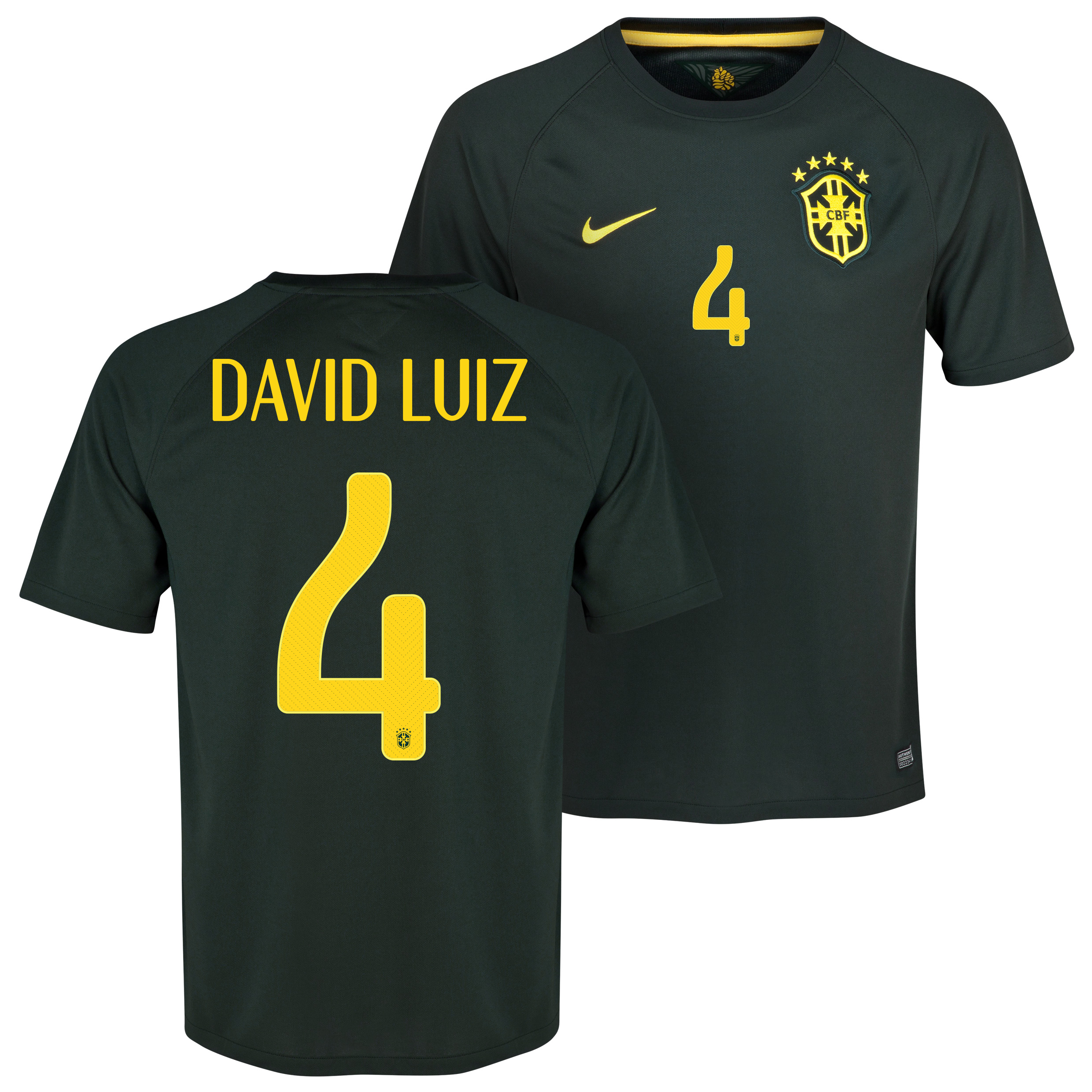 Brazil Third Shirt 2013/15 Black with David Luiz 4 printing