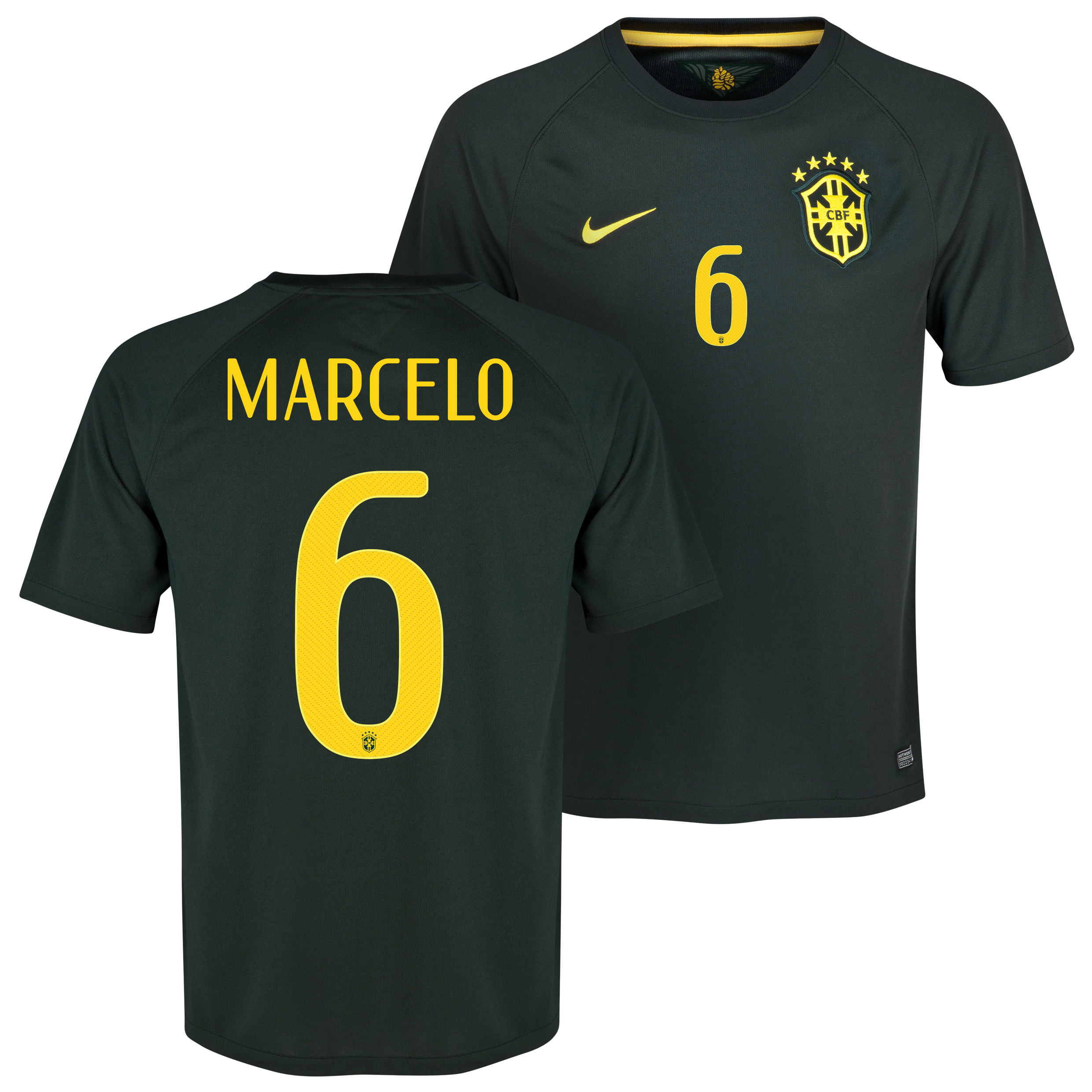 Brazil Third Shirt 2013/15 Black with Marcelo 6 printing
