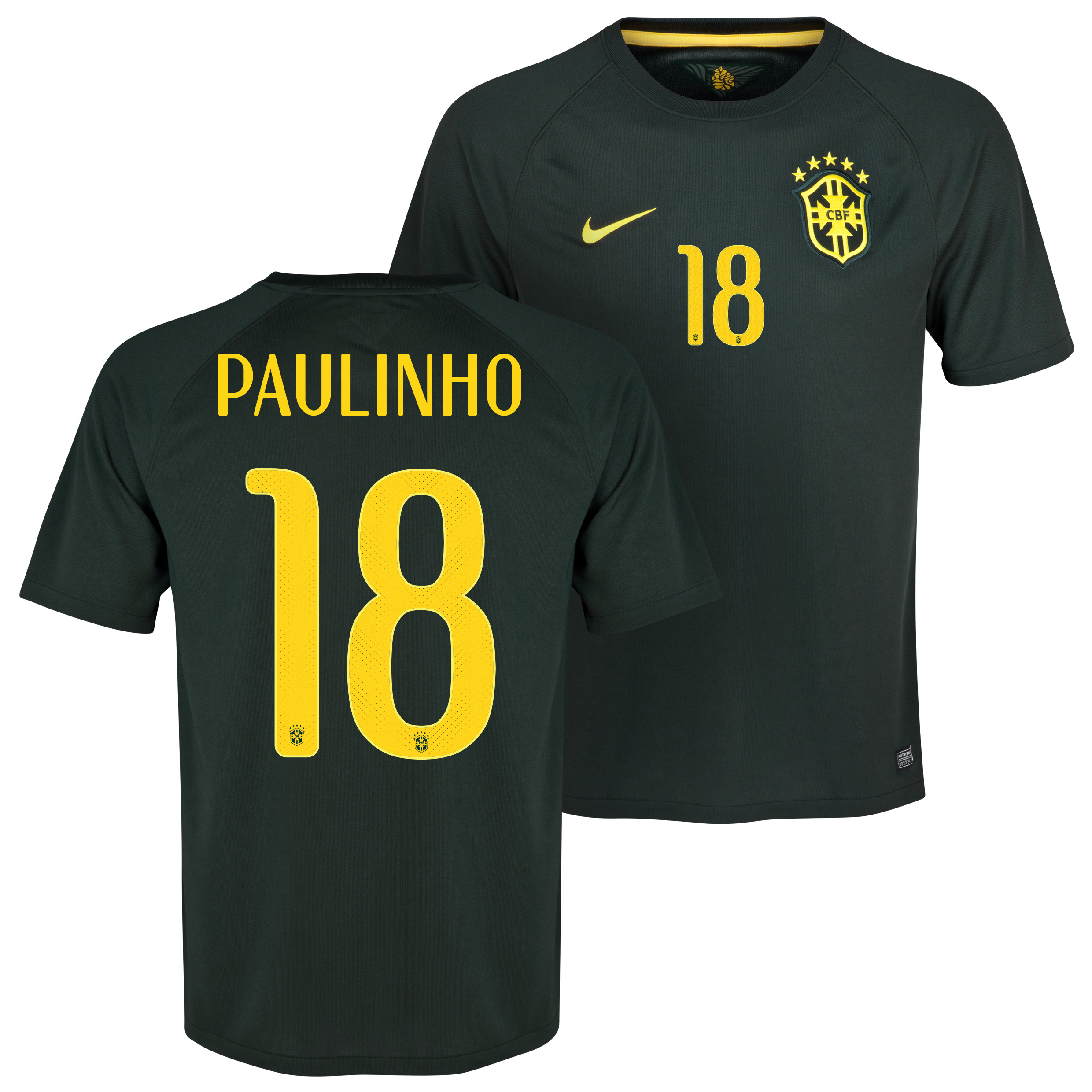 Brazil Third Shirt 2013/15 Black with Paulinho 18 printing
