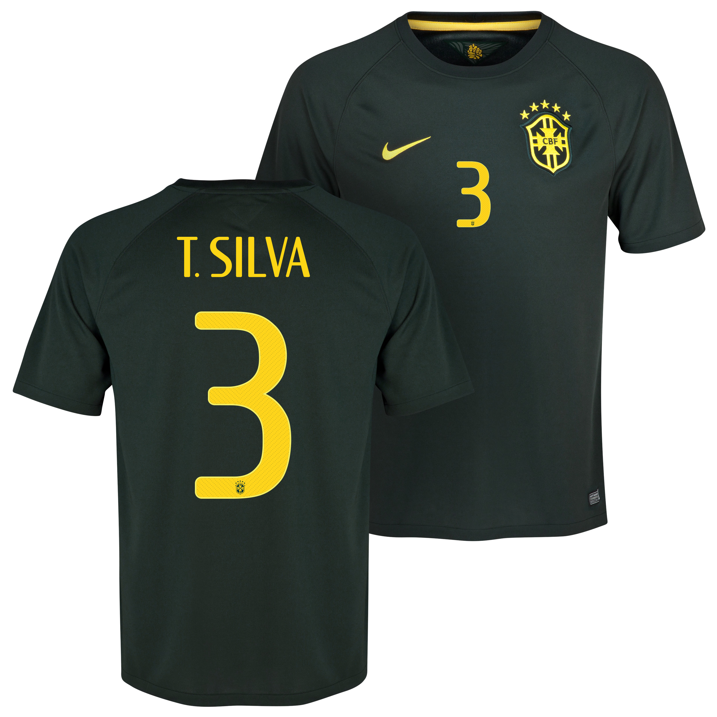 Brazil Third Shirt 2013/15 - Kids Black with T. Silva 3 printing