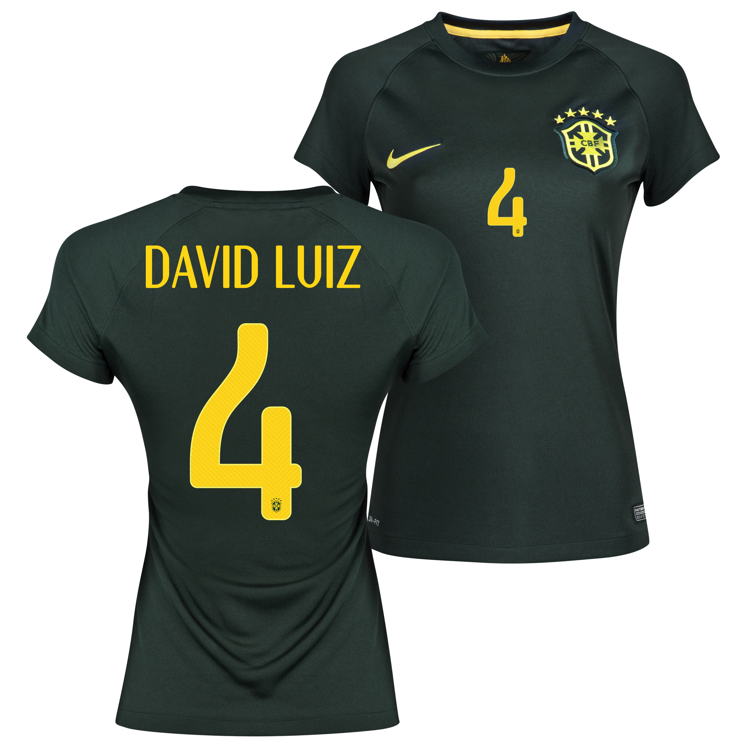 Brazil Third Shirt 2013/15 - Womens Black with David Luiz 4 printing