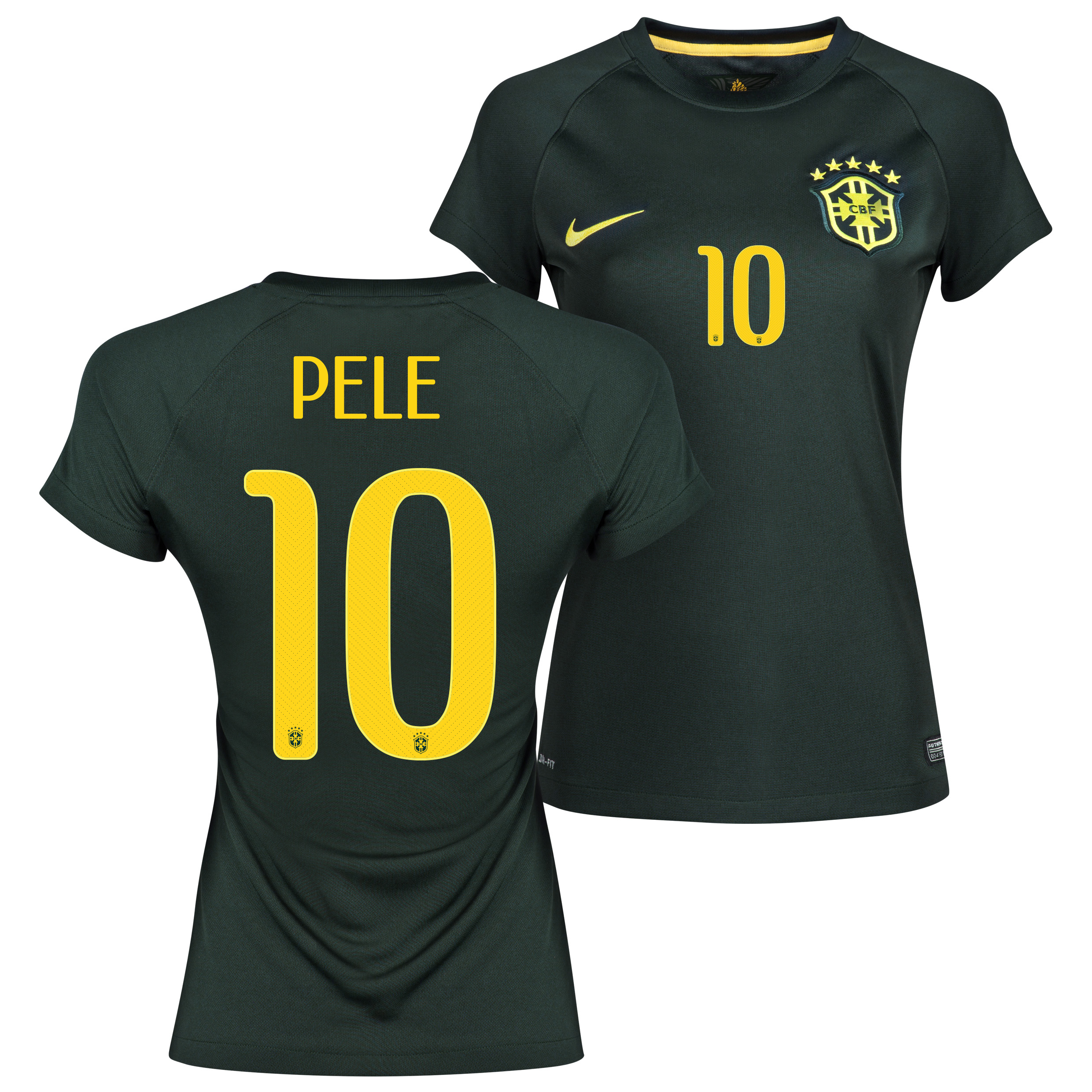 Brazil Third Shirt 2013/15 - Womens Black with Pele 10 printing