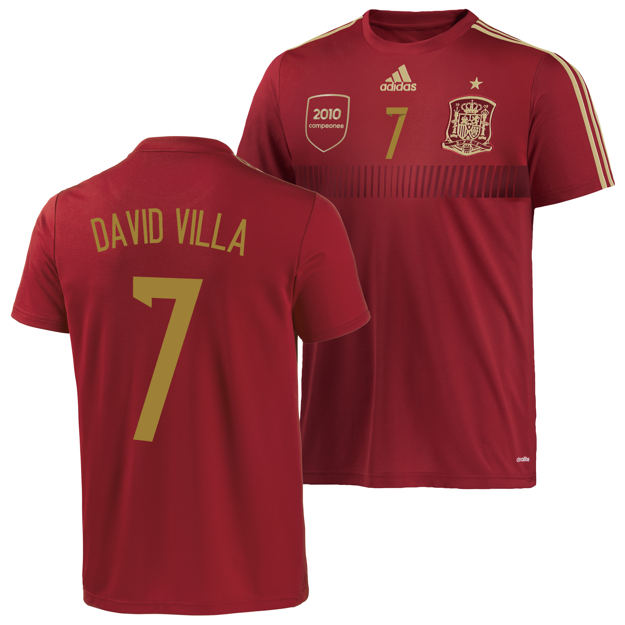 Spain Home Replica T-Shirt 2013/15 - Kids with David Villa 7 printing
