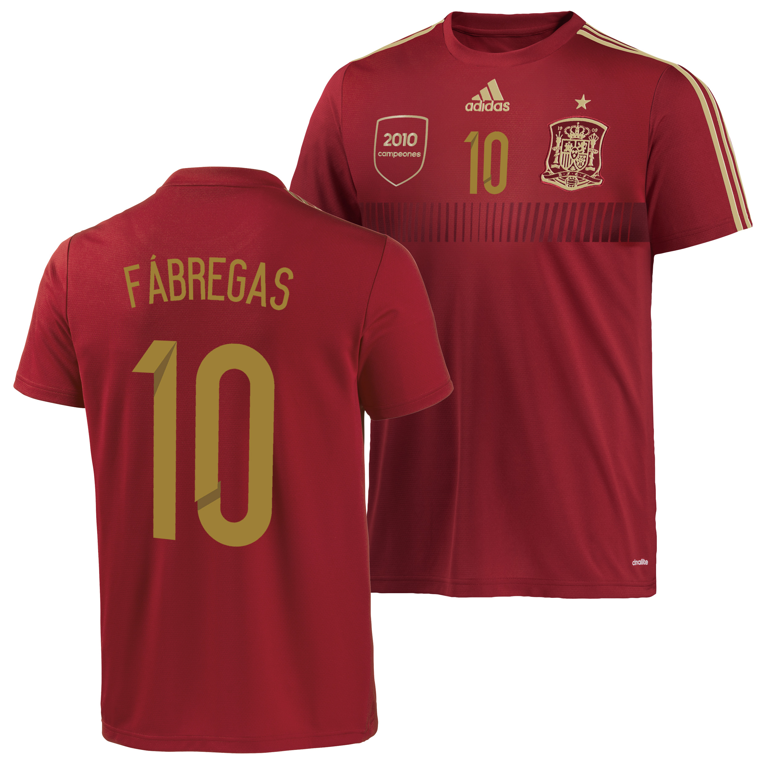 Spain Home Replica T-Shirt 2013/15 - Kids with Fabregas 10 printing